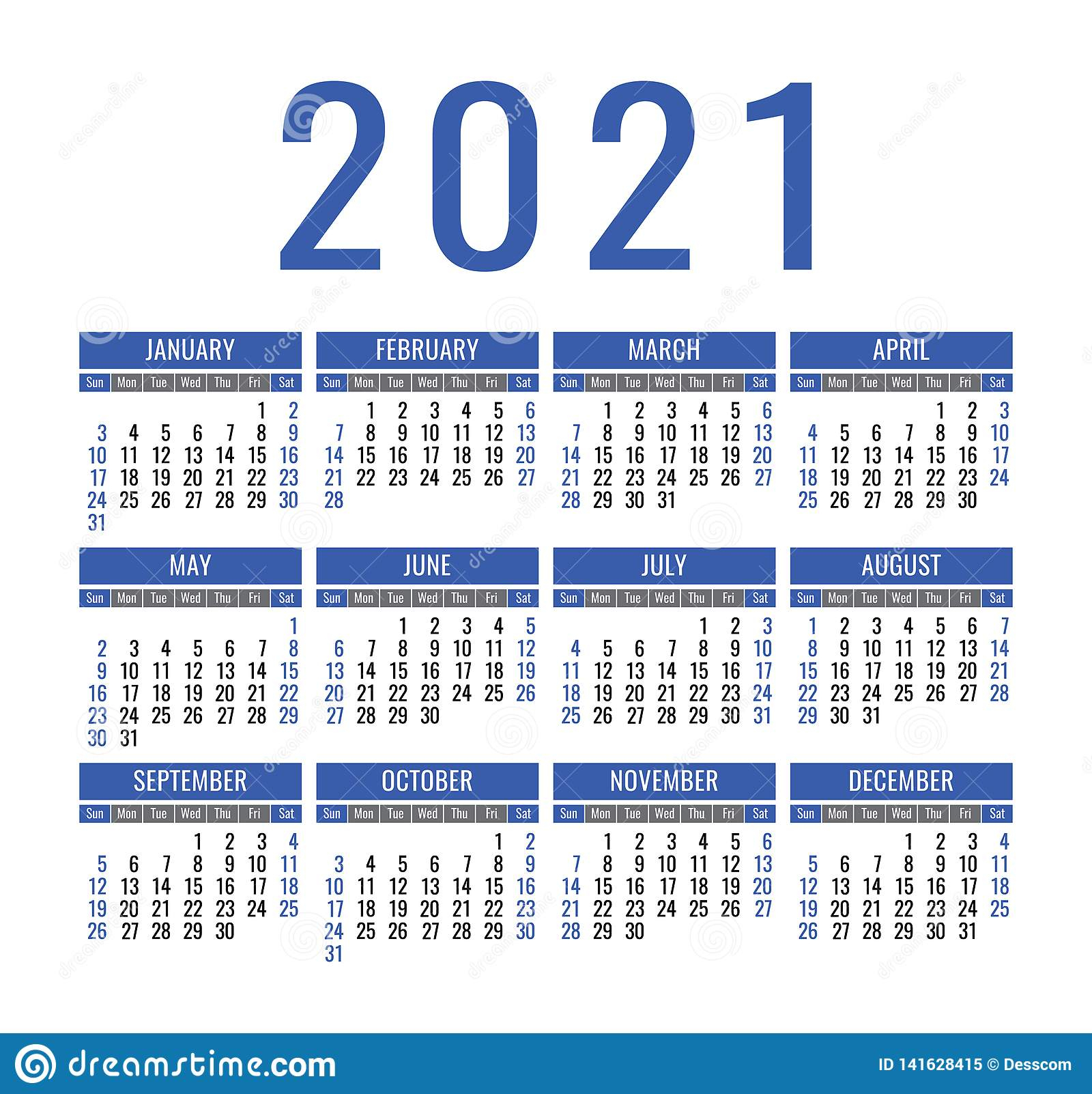 Calendar 2021 Year. Vector Pocket Or Wall Calender Template intended for Pocket Calendar 2021-2021: Two Year
