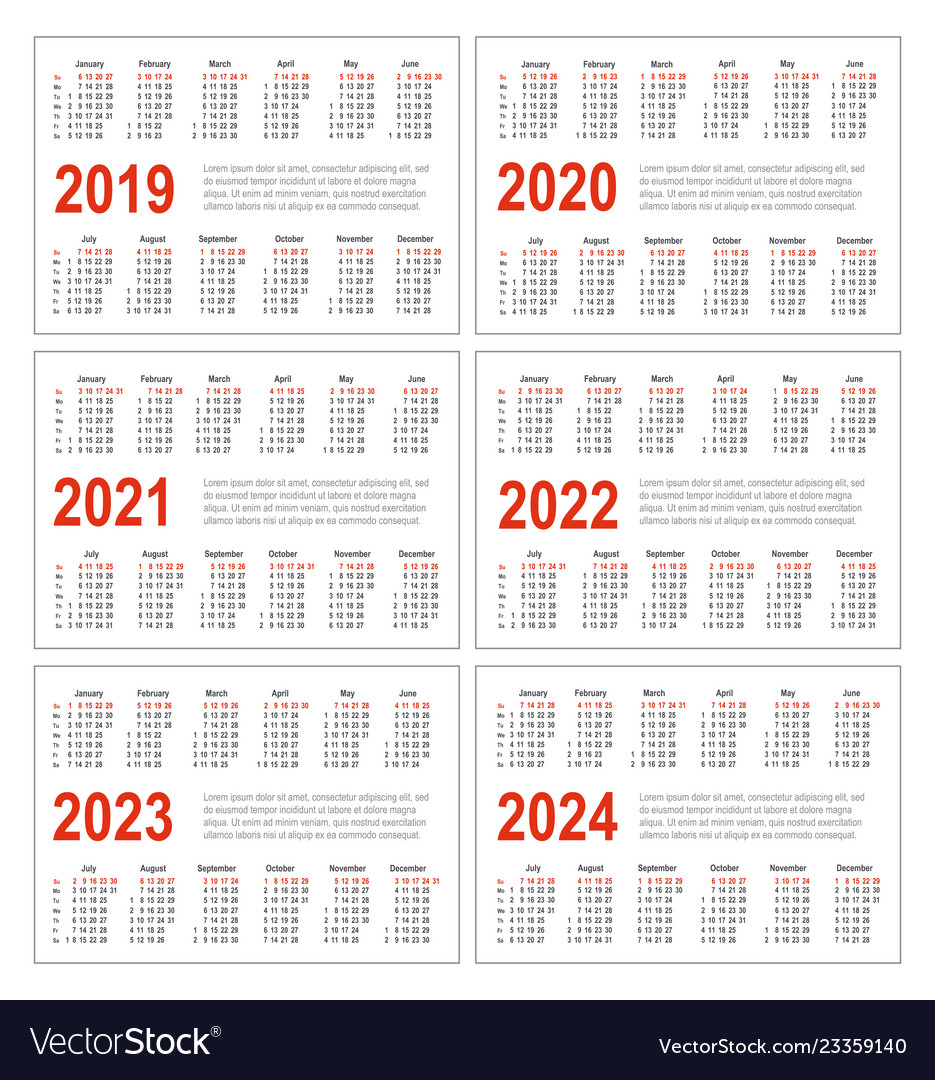 Calendar For 2019 2020 2021 2022 2023 2024 Vector Image regarding 2021-2021 Two Year Planner: Calendar