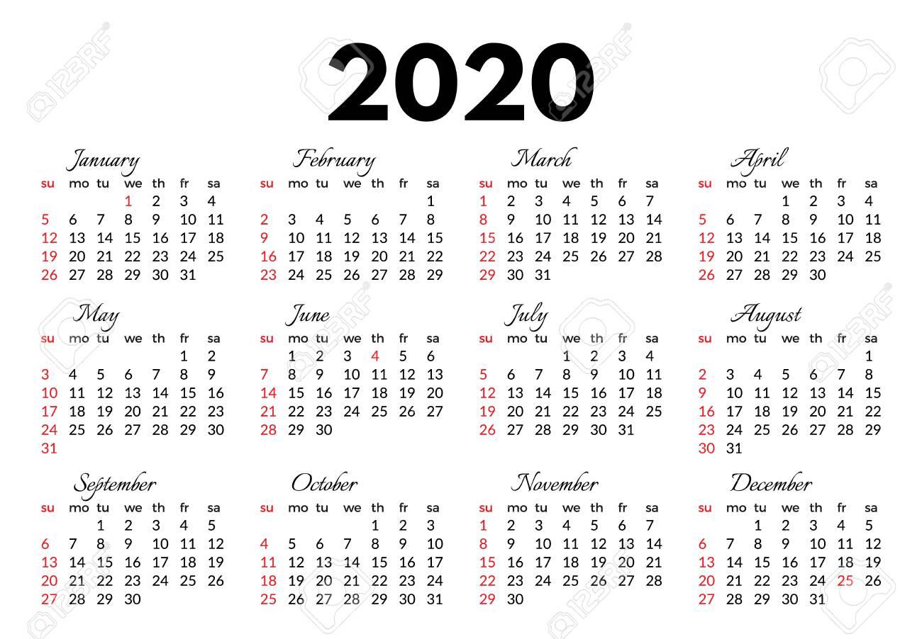 Calendar For 2020 Isolated On A White Background. Sunday To Monday,.. within Monday Through Sunday