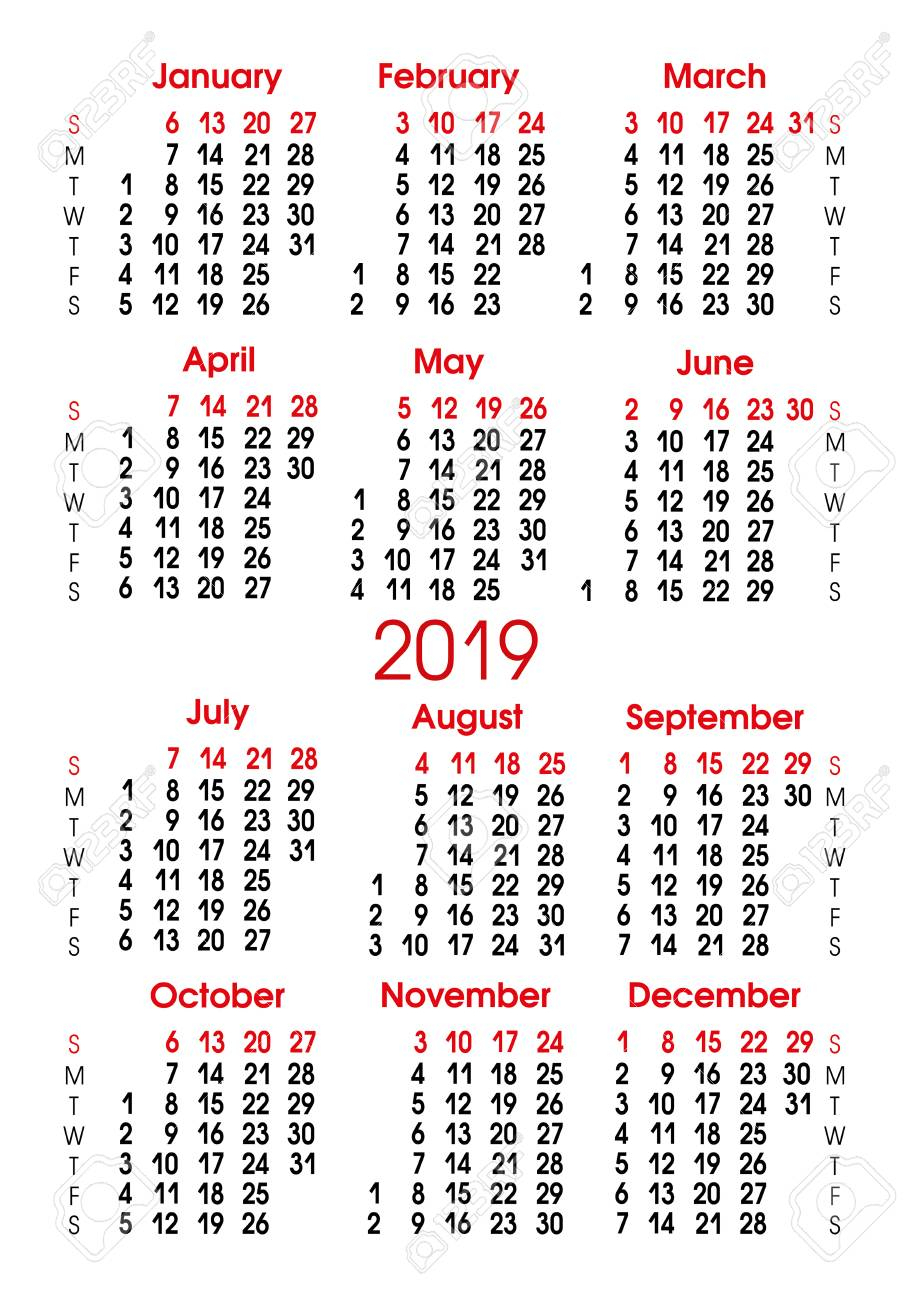 Calendar Grid 2019. Vertical Alignment Of Numbers. Sunday-Saturday regarding Sunday To Saturday Calendar