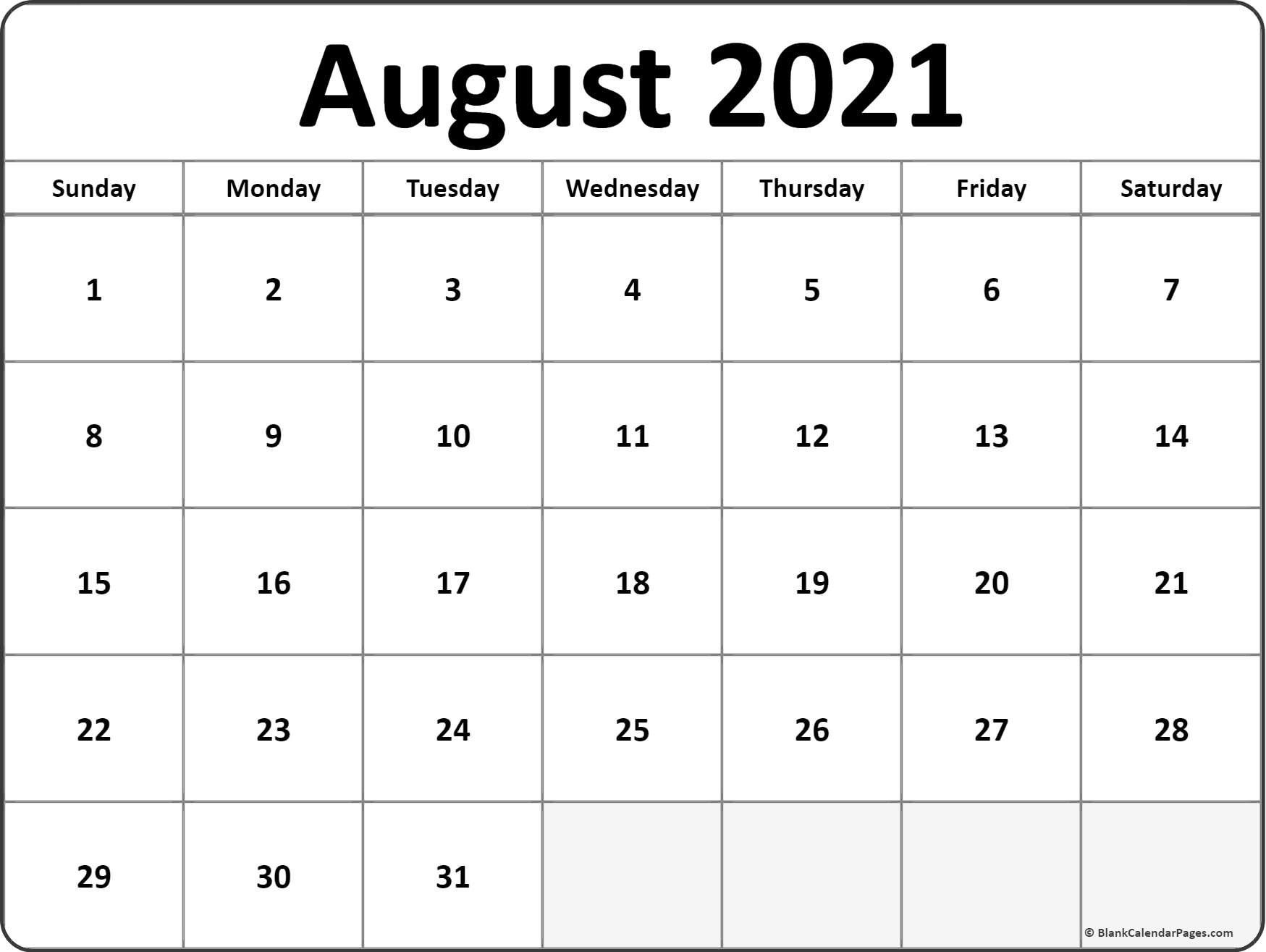 Calendar Monthly 2021 Printable August Full Page pertaining to Fill In 2021 Calendar Pages Blank