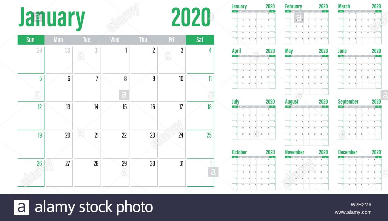 Calendar Planner 2020 Template Vector Illustration All 12 within Sunday To Saturday Calendar