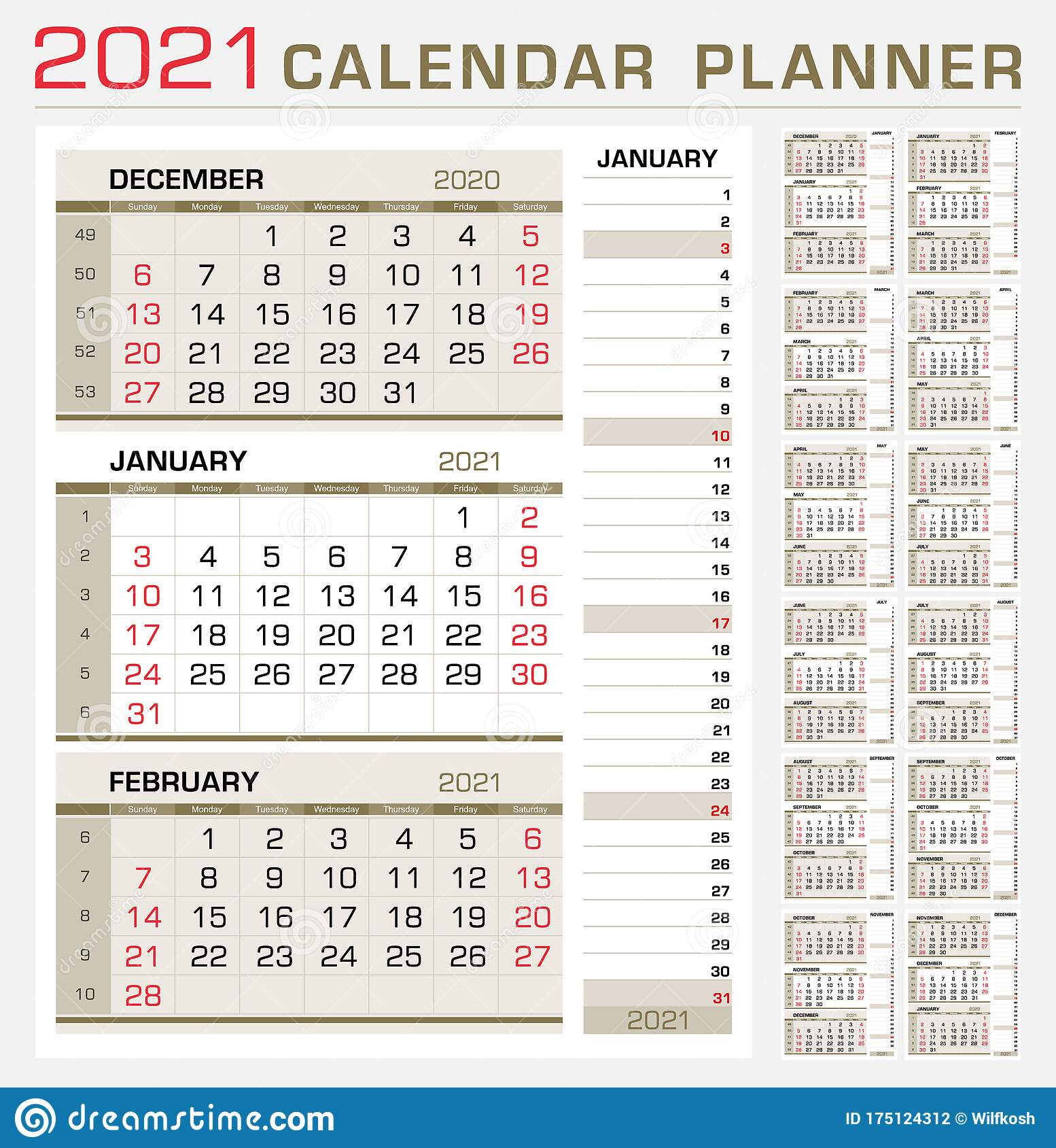 Calendar Planner 2021. Week Start From Sunday. 3 Month with Weekly Planner For 2021- 52 Weeks