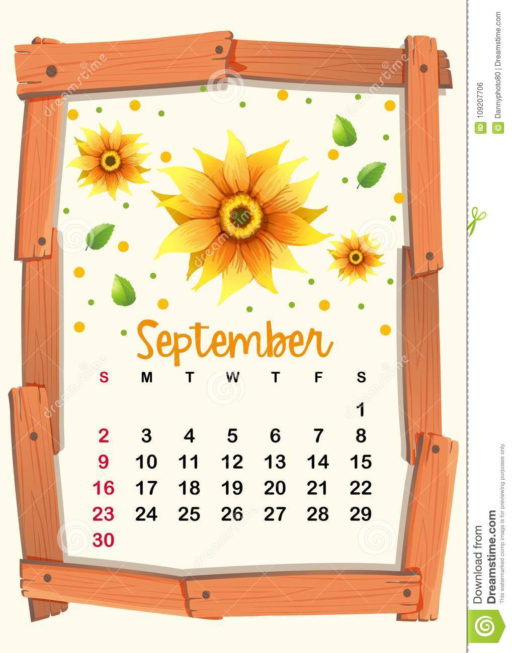 Calendar Template With Sunflower For September Stock Vector pertaining to 2021-2022 Monthly Planner: Sunflowers