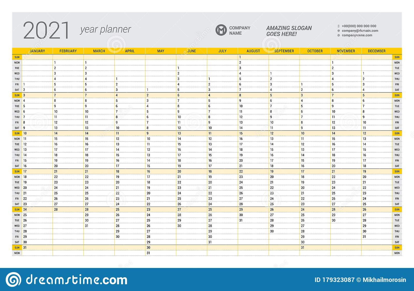 Calendar Yearly Planner Template For 2021. Printable with 2021 Printable Yearly Calendar Template