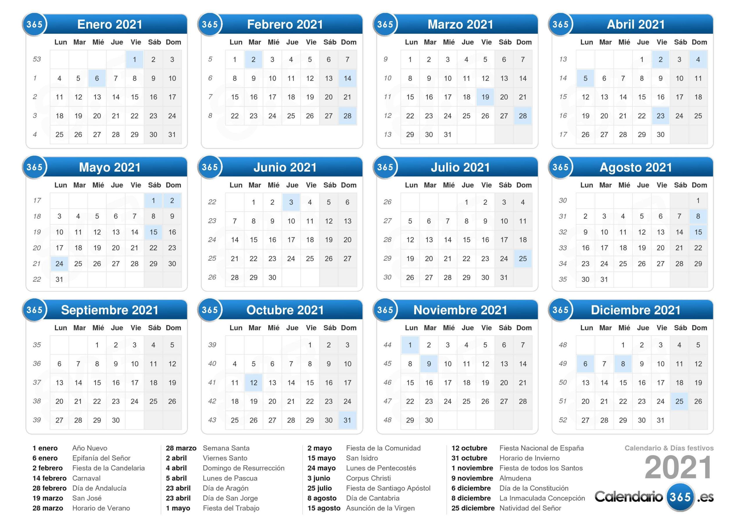 Calendario 2021 with Calendario Vertex 2021