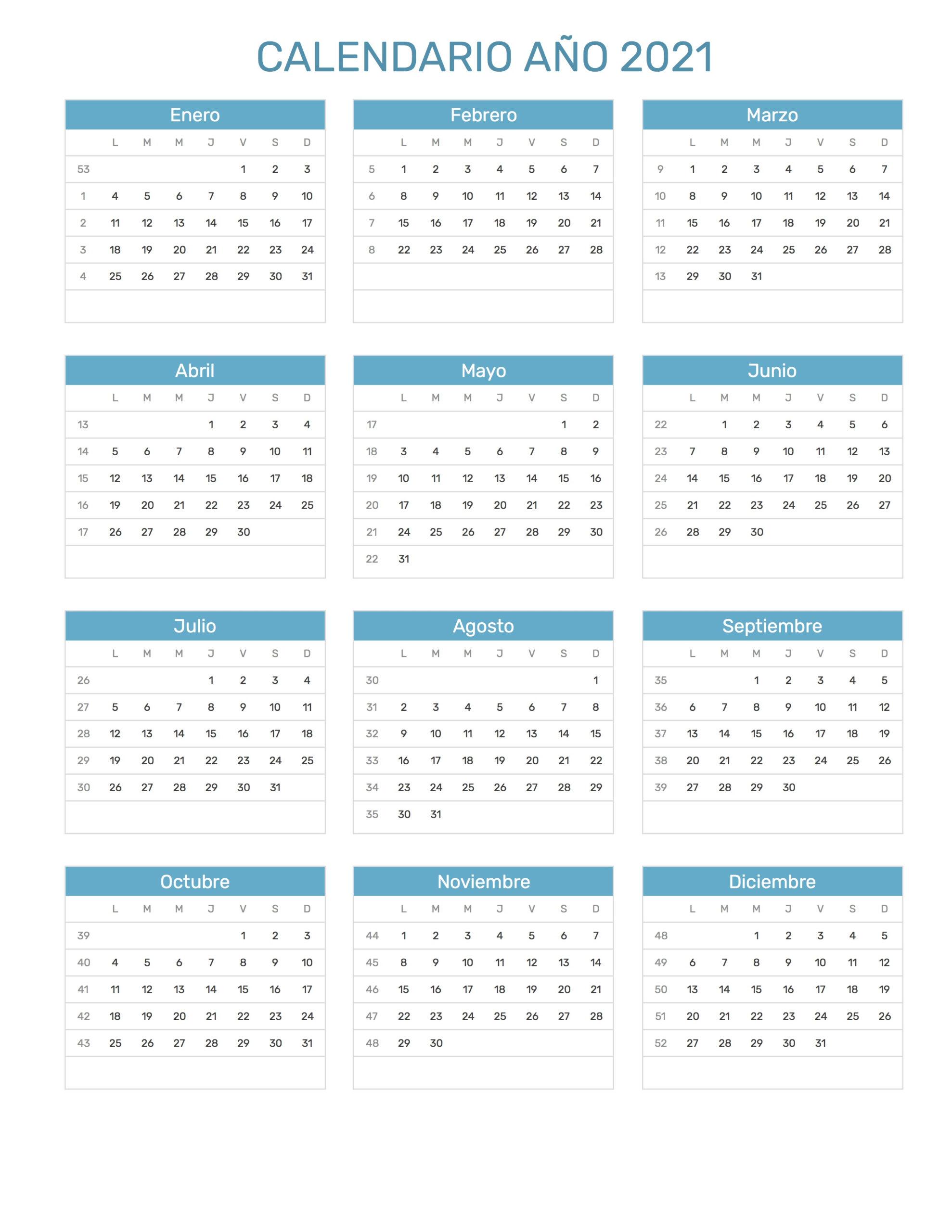 Calendario Año 2021 intended for Calendario Vertex 2021