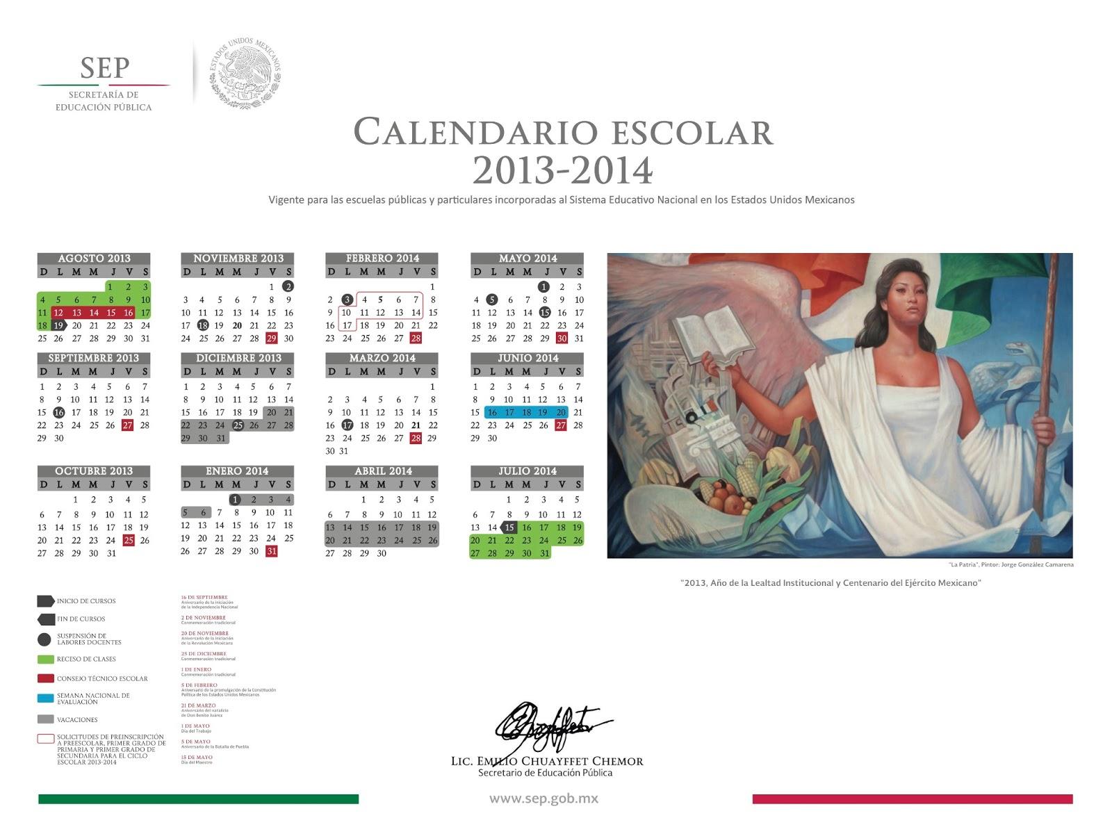 Calendario Escolar 2013-2014. | Hdtprimeroespsecclaudia within Calendario Escolar WordPress