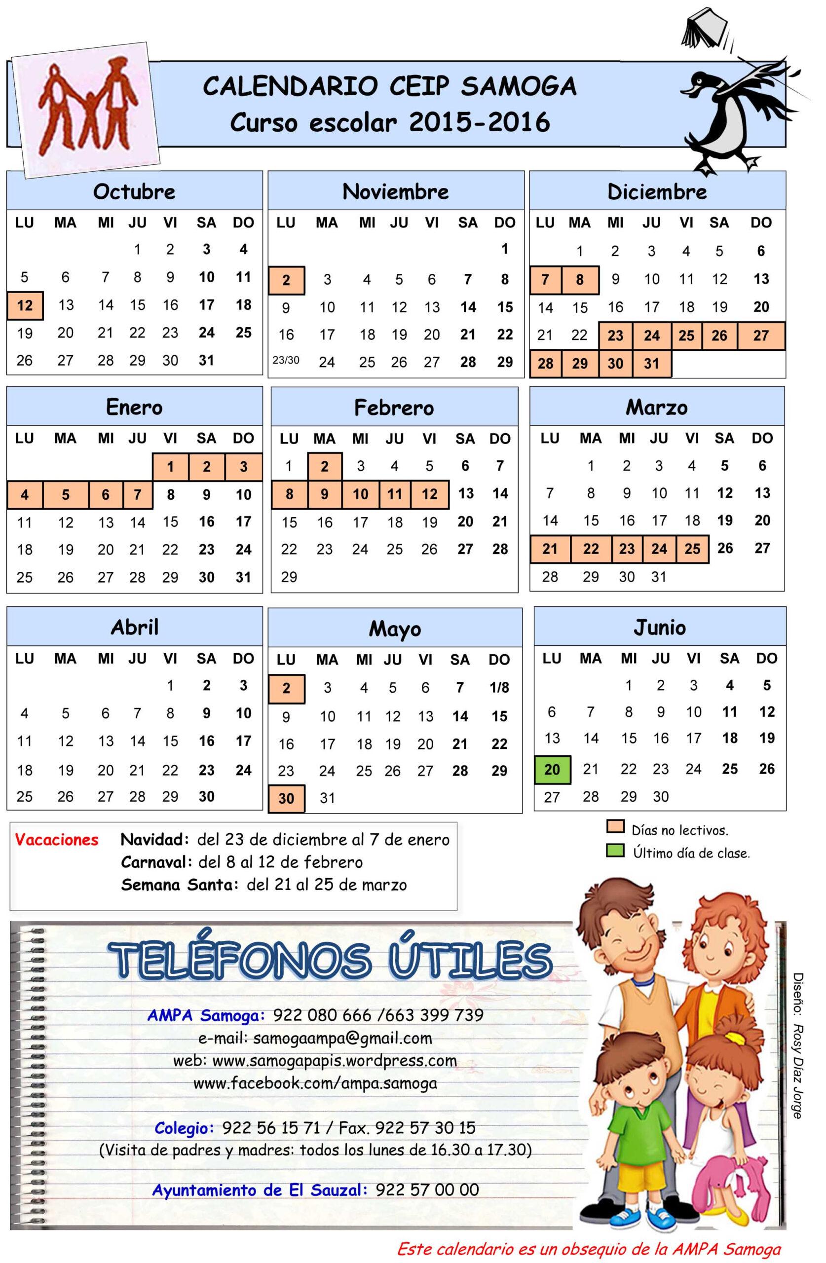 Calendario Escolar 2015/2016 Del Colegio Samoga | Ampa inside Calendario Escolar WordPress