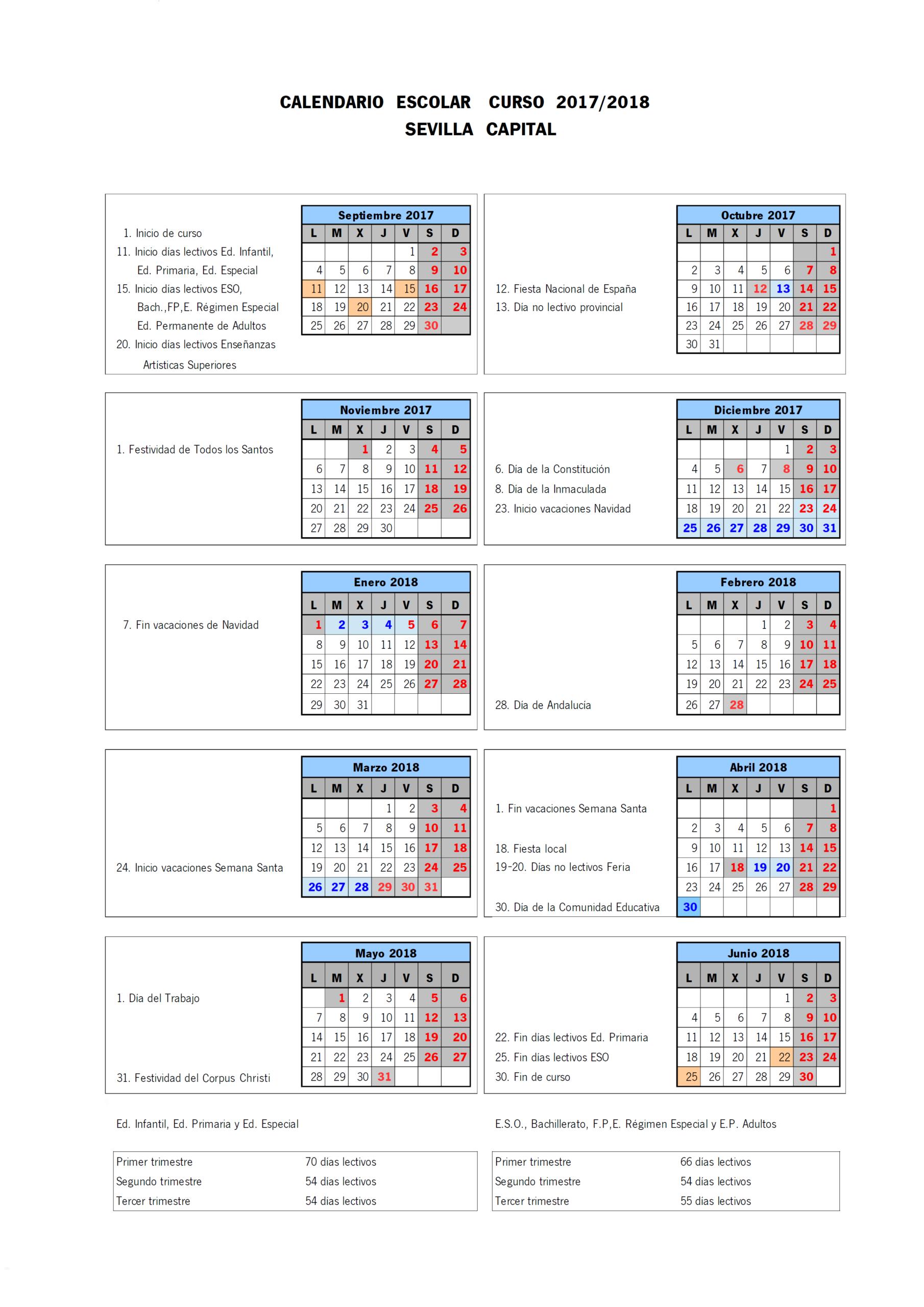 Calendario Escolar 2017-2018 – Academia Enseñanza throughout Calendario Escolar WordPress