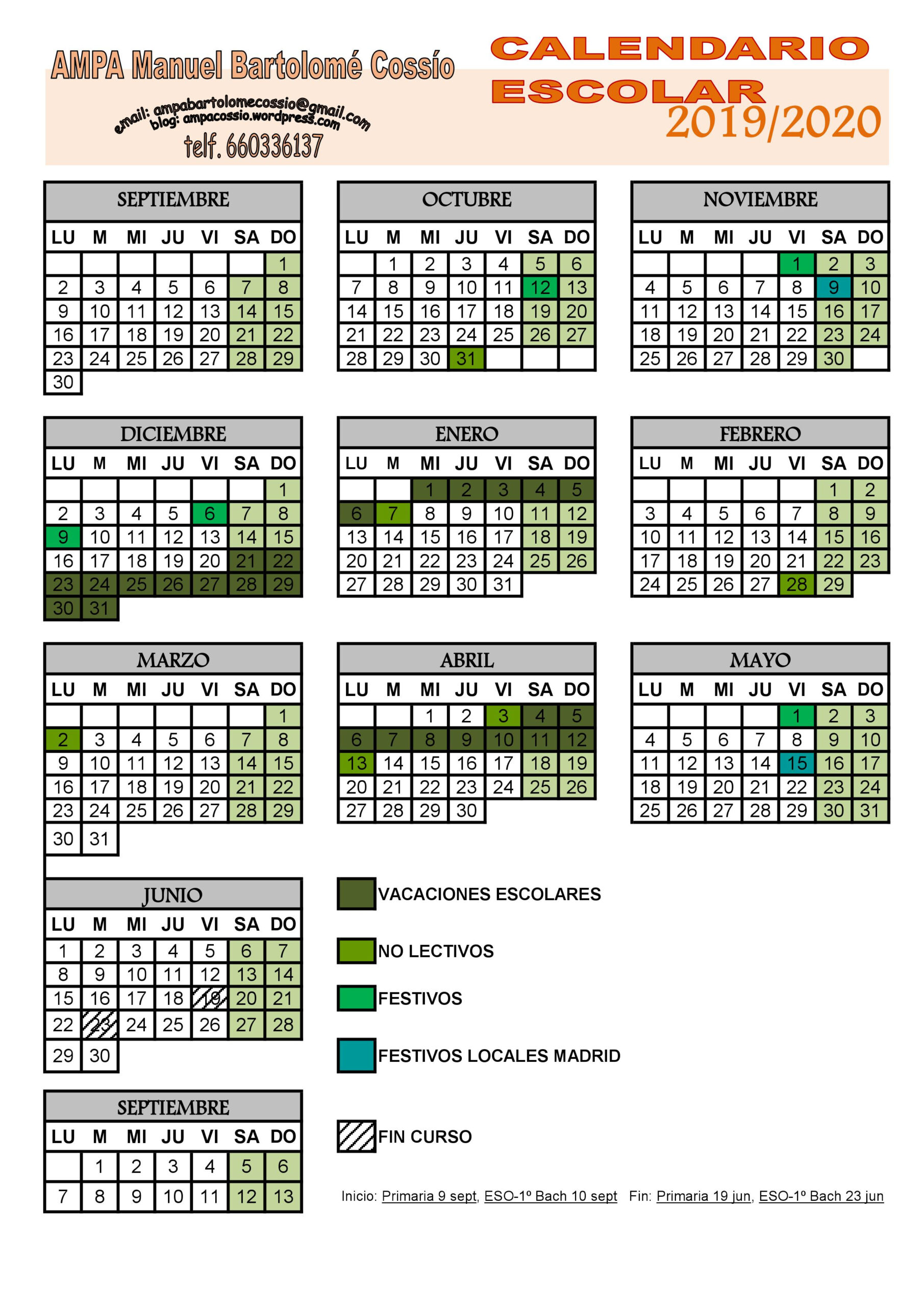 Calendario Escolar 2019-20_Ampa Cossío | Ampacossio with Calendario Escolar WordPress