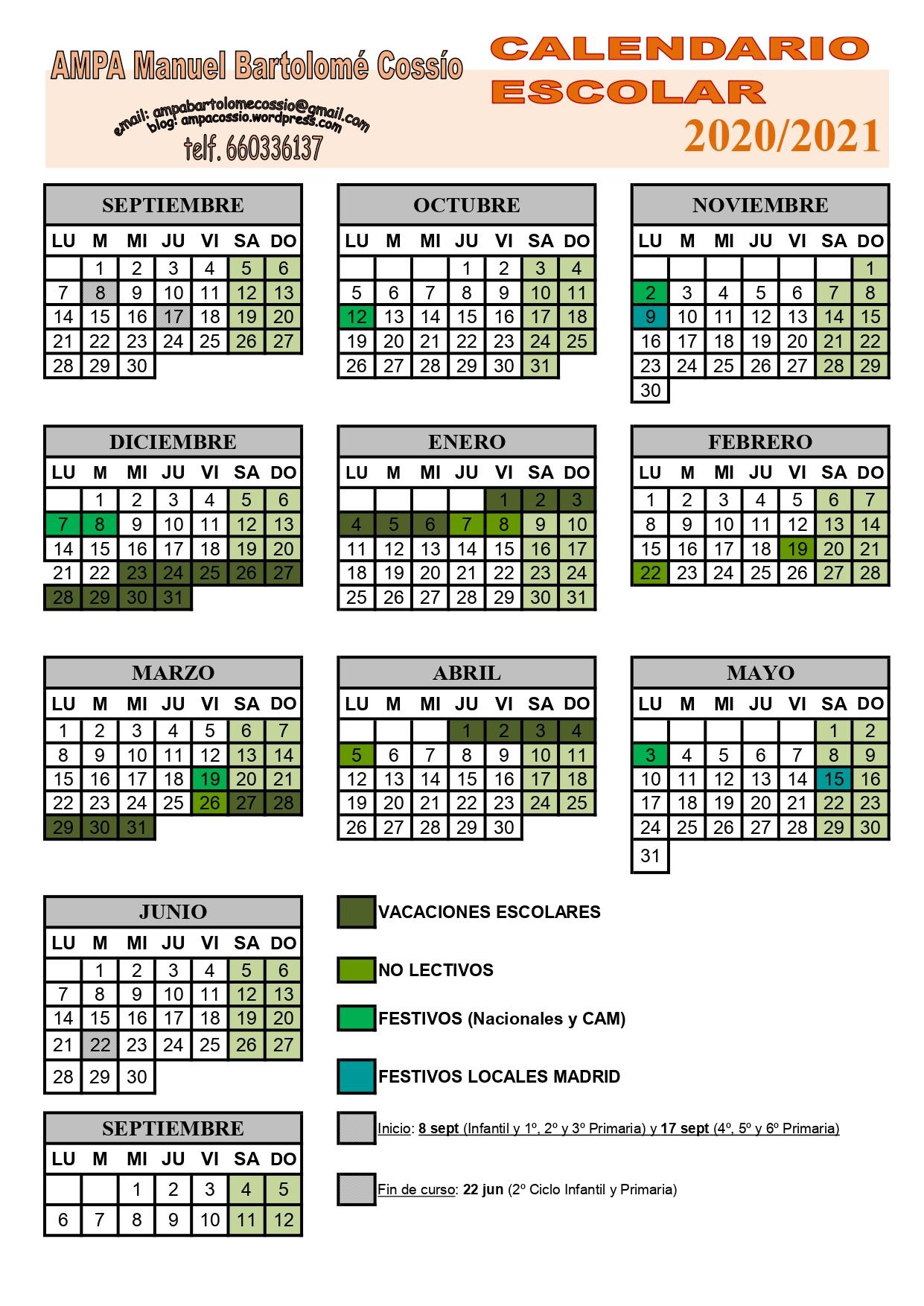 Calendario Escolar 2020-2021 | Ampacossio with Calendario Escolar WordPress