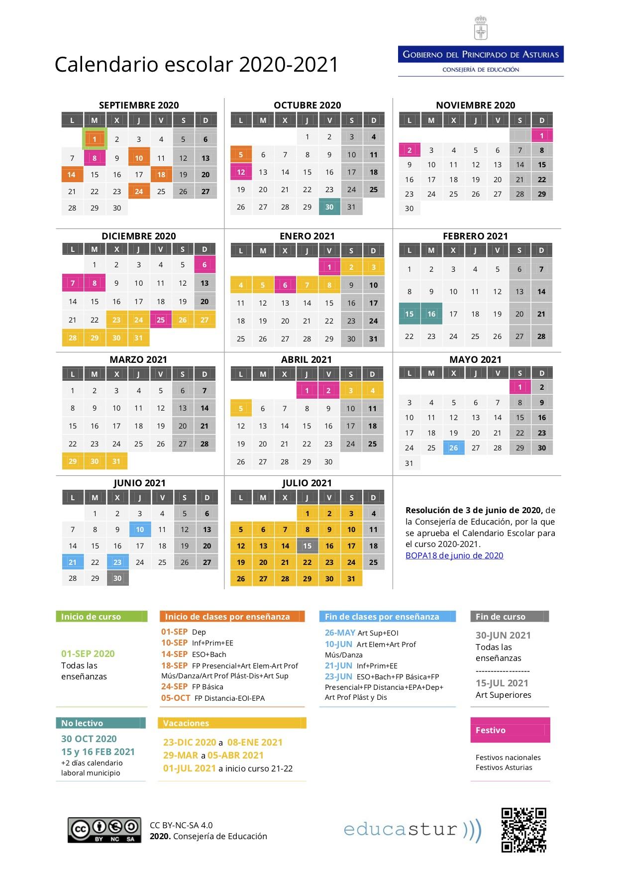 Calendario Escolar 2020-2021 | Escuela Oficial De Idiomas De with regard to Calendario Escolar WordPress