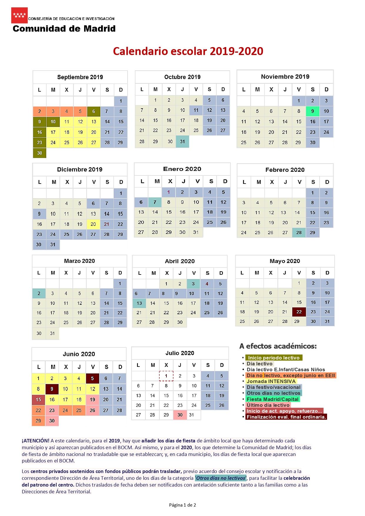 Calendario Escolar Para El Curso 2019-2020 | Ampa Del Ceip inside Calendario Escolar WordPress