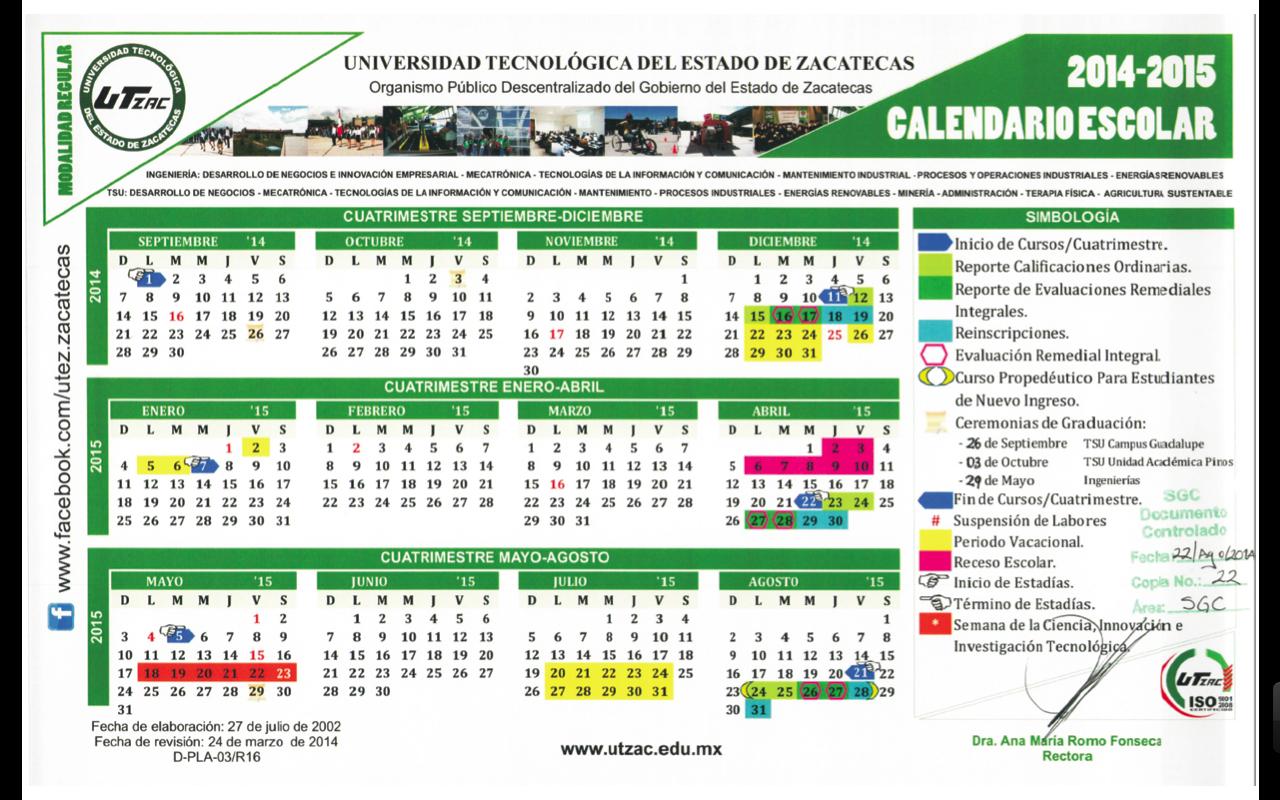 Calendario Escolar – Unidad Académica De Pinos in Calendario Escolar WordPress