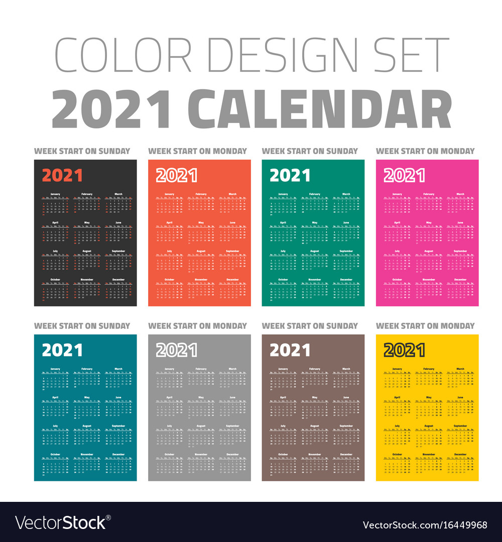 Color Pocket Calendar Set 2021 Royalty Free Vector Image with 2021 Pocket Calendar