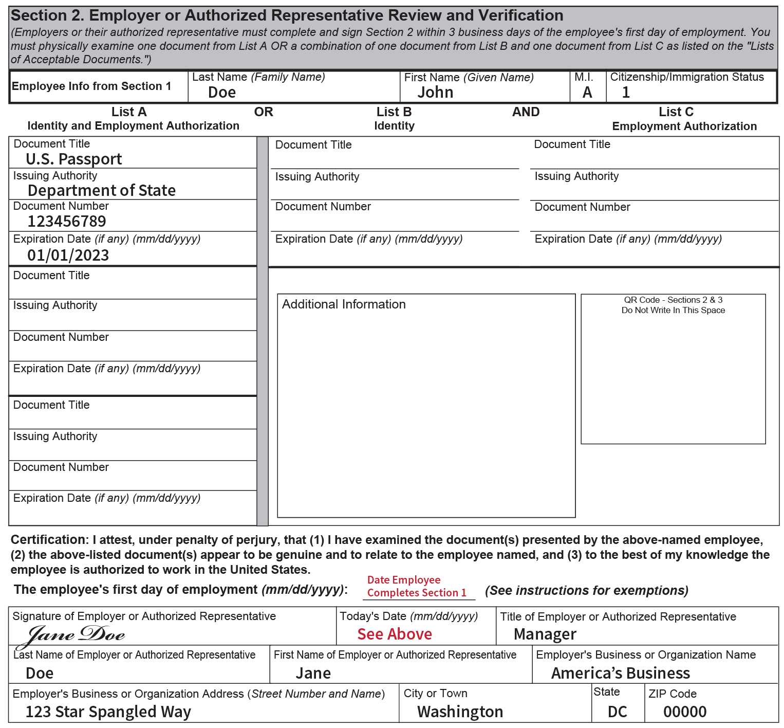 Completing Section 2, Employer Review And Attestation | Uscis for Blank I9 Form