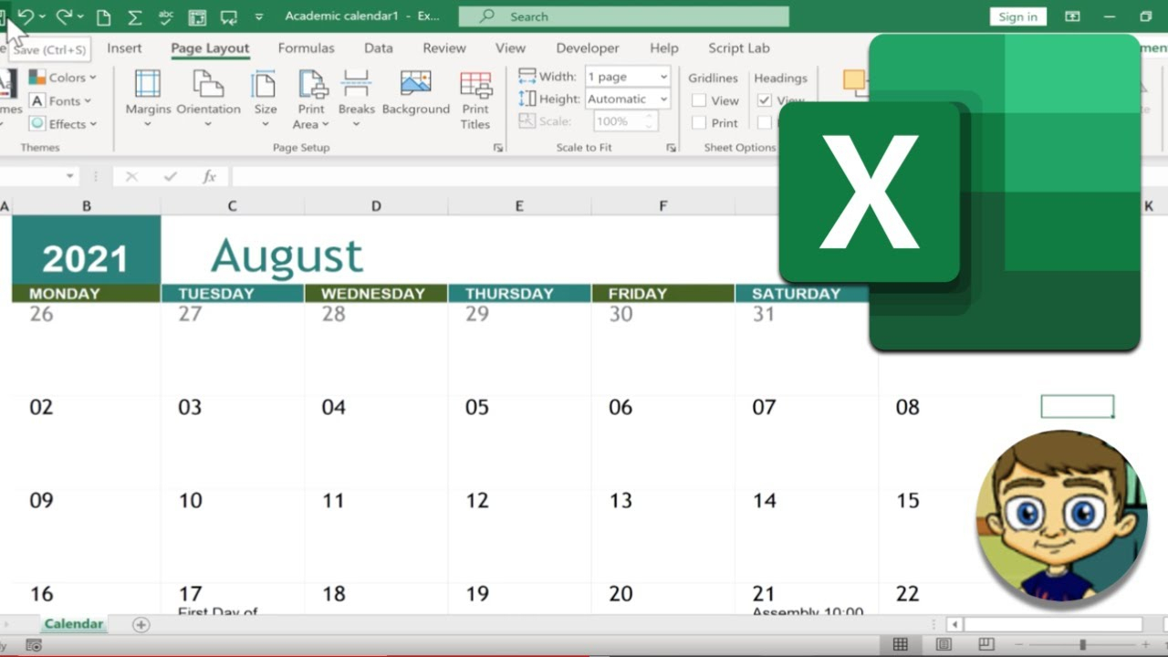 Creating A Calendar In Excel throughout 2021 2021 2 Year Monthly Planner Live
