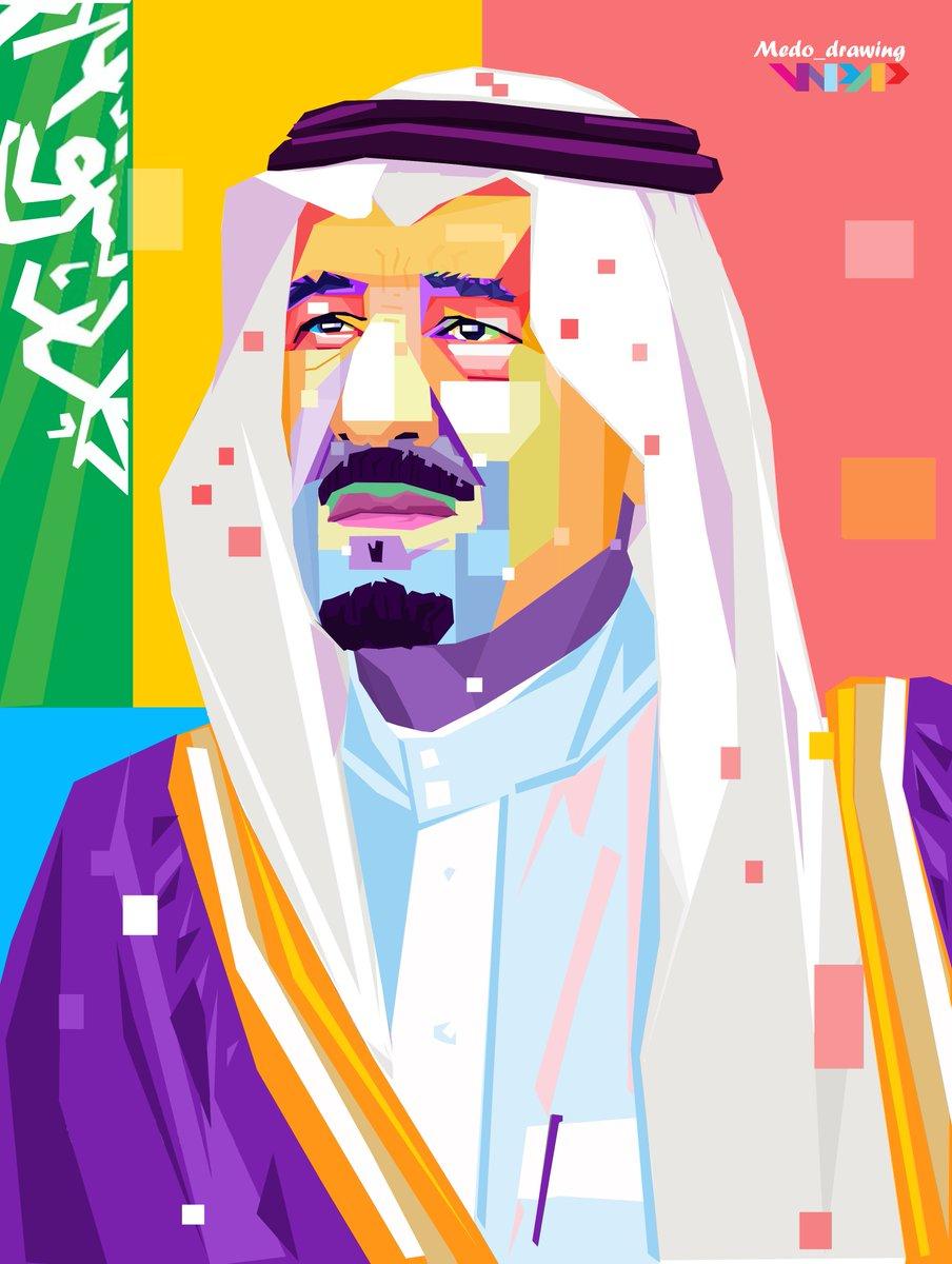 """الفنان محمد الغنيمي على تويتر: """"رسمتي لل #ملك_سلمان inside Wpa Wpart Co"""