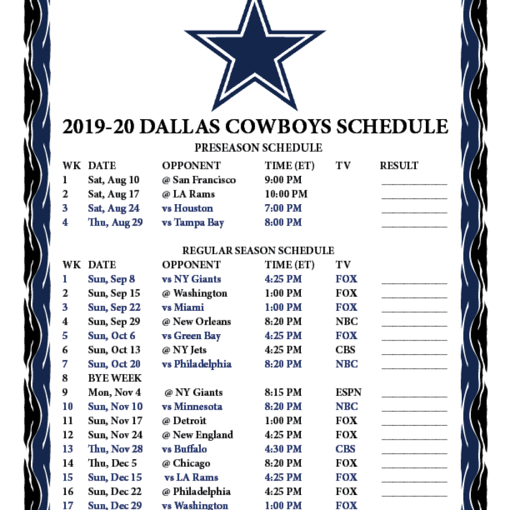 Dallas Cowboys Printable Schedule 2020 2020 In 2020 | Dallas within 2021 Printable Nfl Schedules