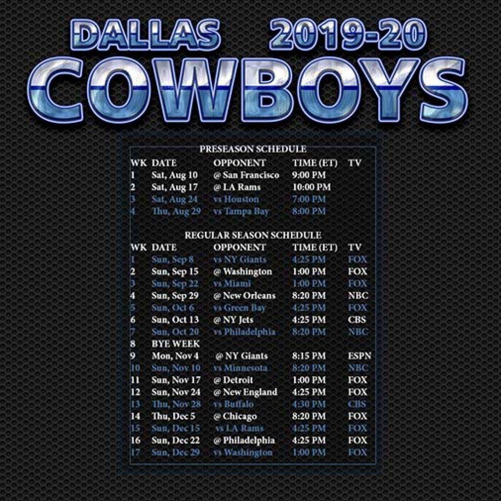 Dallas Cowboys Schedule 2020 2020 Printable In 2020 | Dallas in 2021 Printable Nfl Schedules