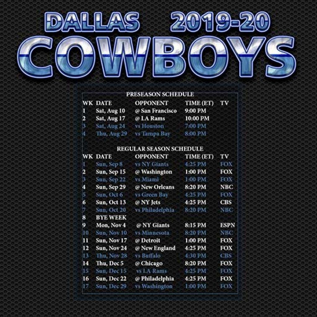 Dallas Cowboys Schedule 2020 2020 Printable In 2020 | Dallas with Full Nfl Schedule 2021 Printable