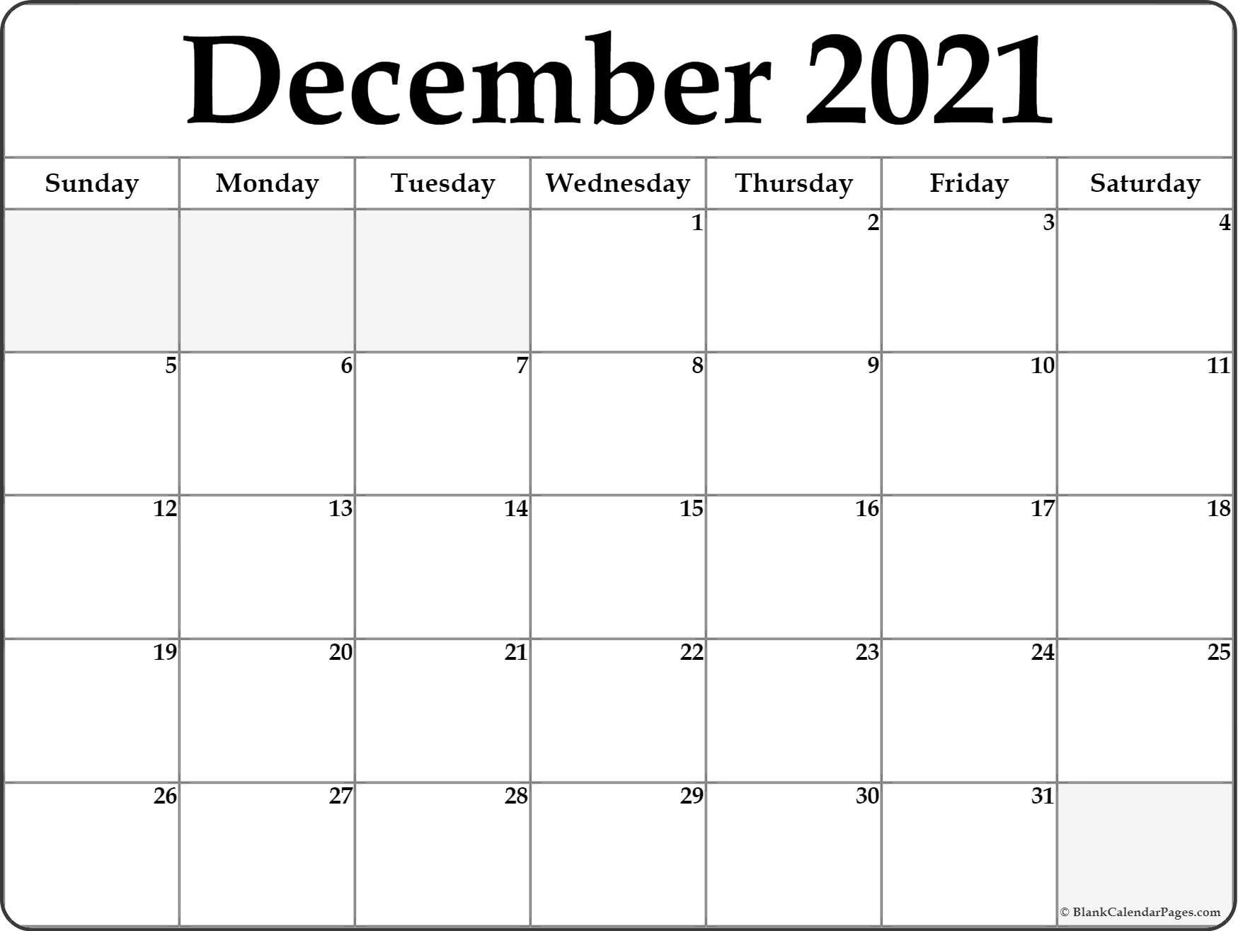 December 2021 Blank Calendar Templates December 2021 Blank in Fill In 2021 Calendar Pages Blank