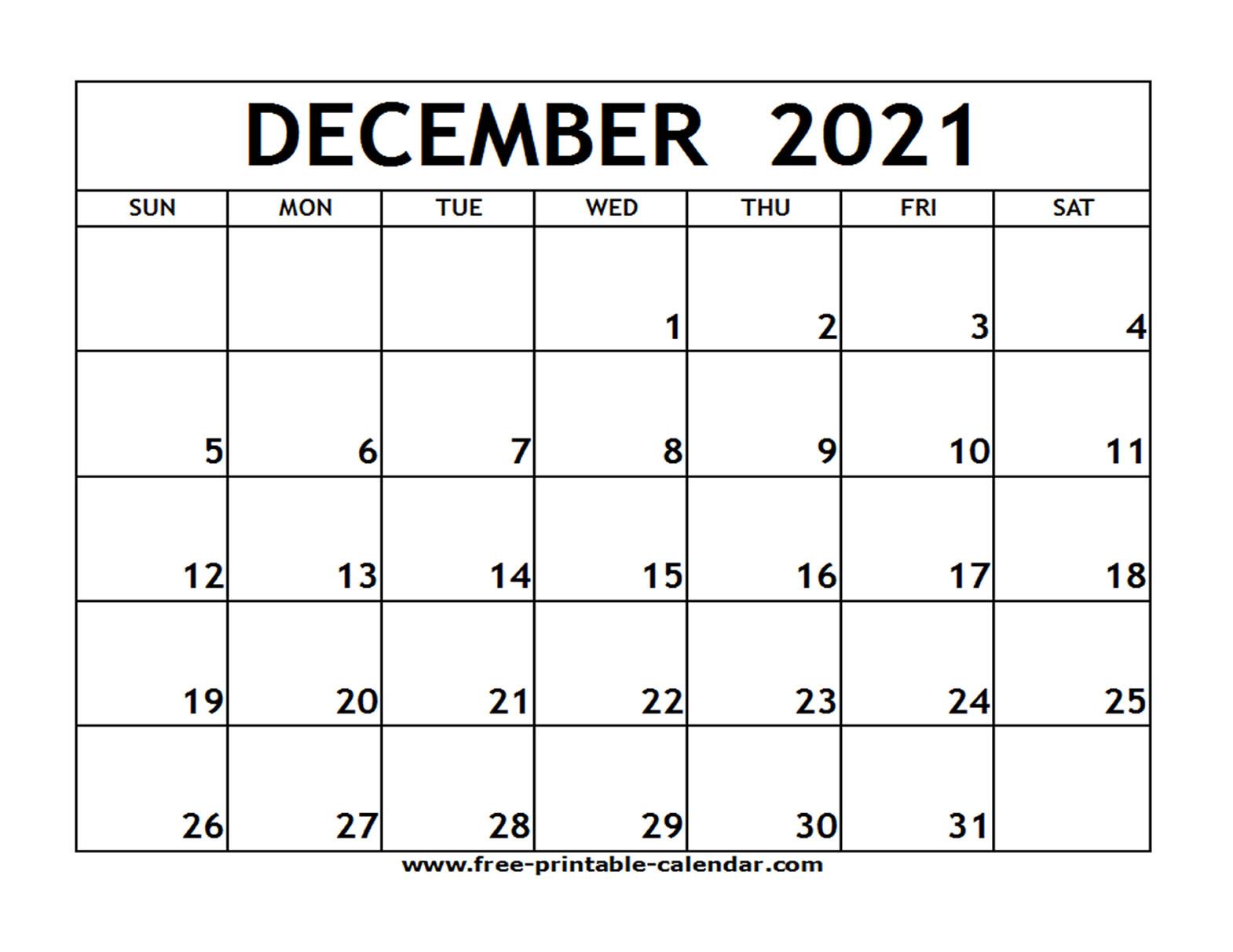 December 2021 Printable Calendar - Free-Printable-Calendar pertaining to Printable Calendar 2021 And Fill On