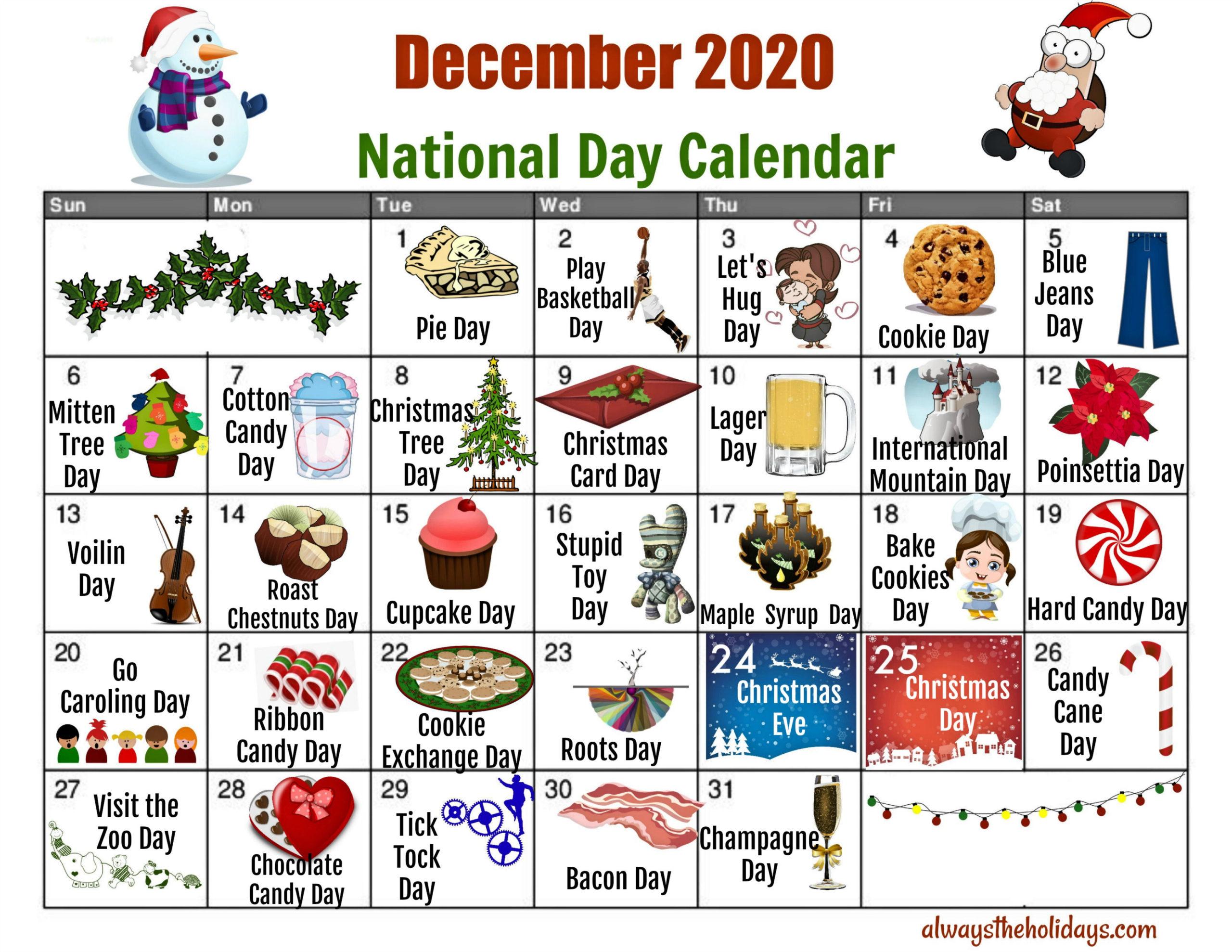 December National Day Calendar - Free Printable Calendars with Printable National Day Calendar 2021