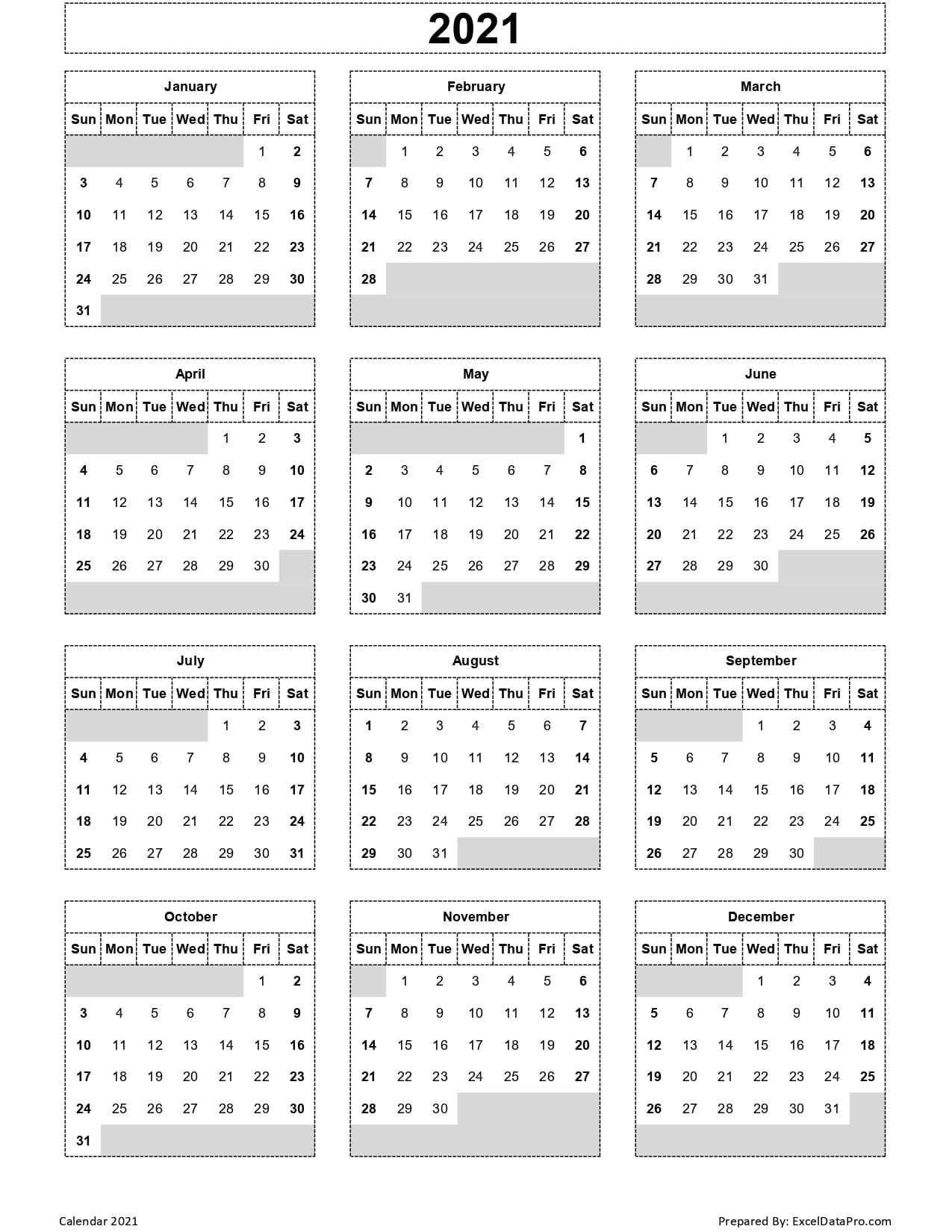 Download 2021 Yearly Calendar (Sun Start) Excel Template for 2021 Yearly Calendar With Boxes