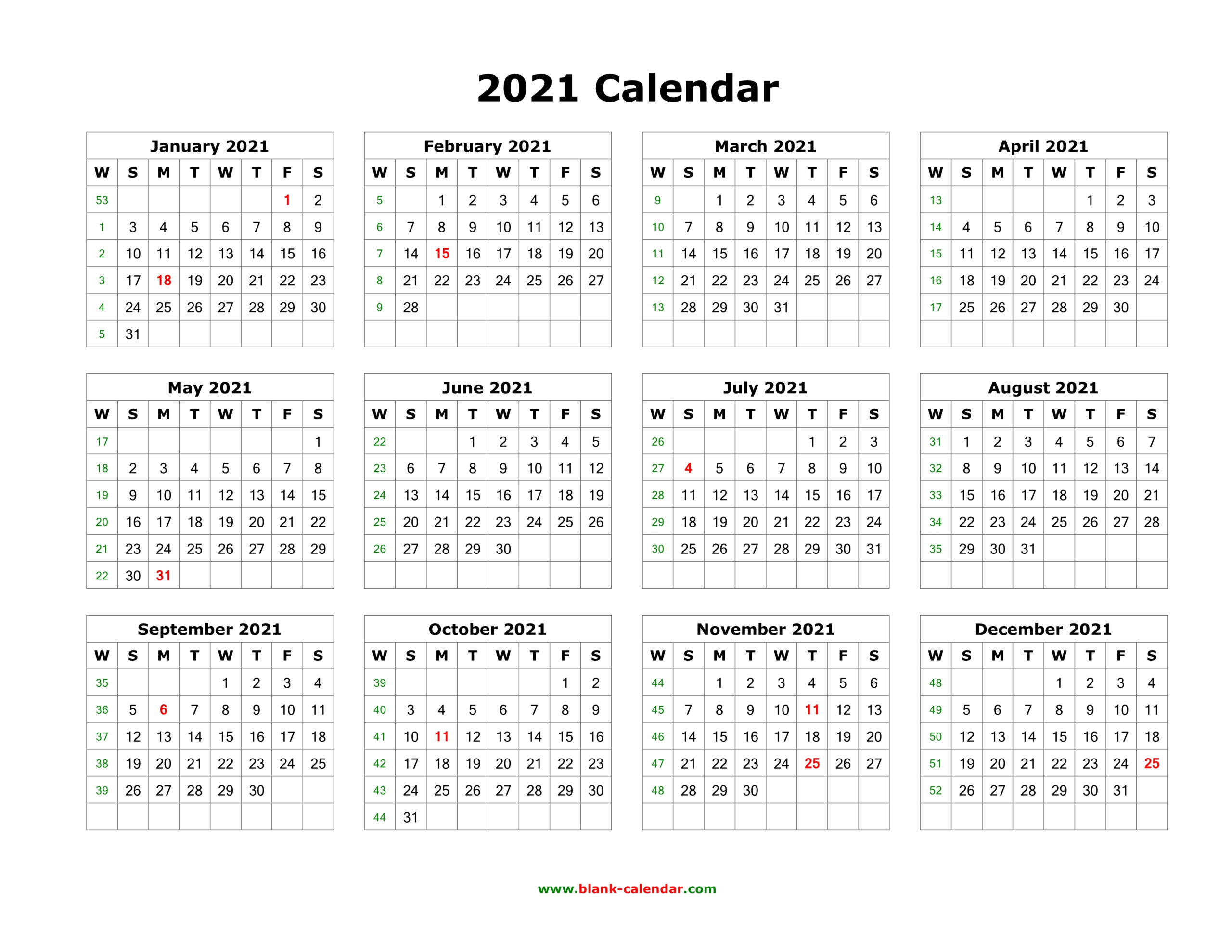 Download Blank Calendar 2021 (12 Months On One Page, Horizontal) with regard to 2021 Monthly Planner 12 Month