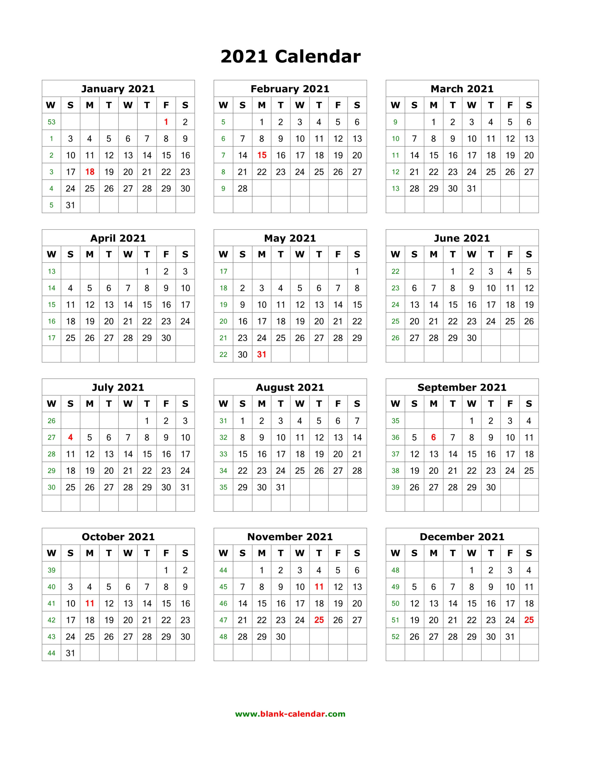 Download Blank Calendar 2021 (12 Months On One Page, Vertical) inside Calendar 2021 All Months