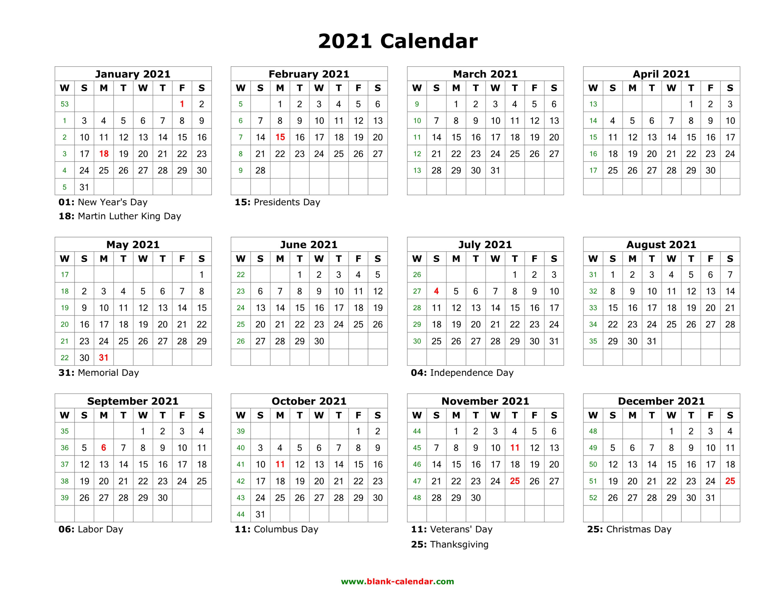Download Blank Calendar 2021 With Us Holidays (12 Months On inside Calendar 2021 All Months