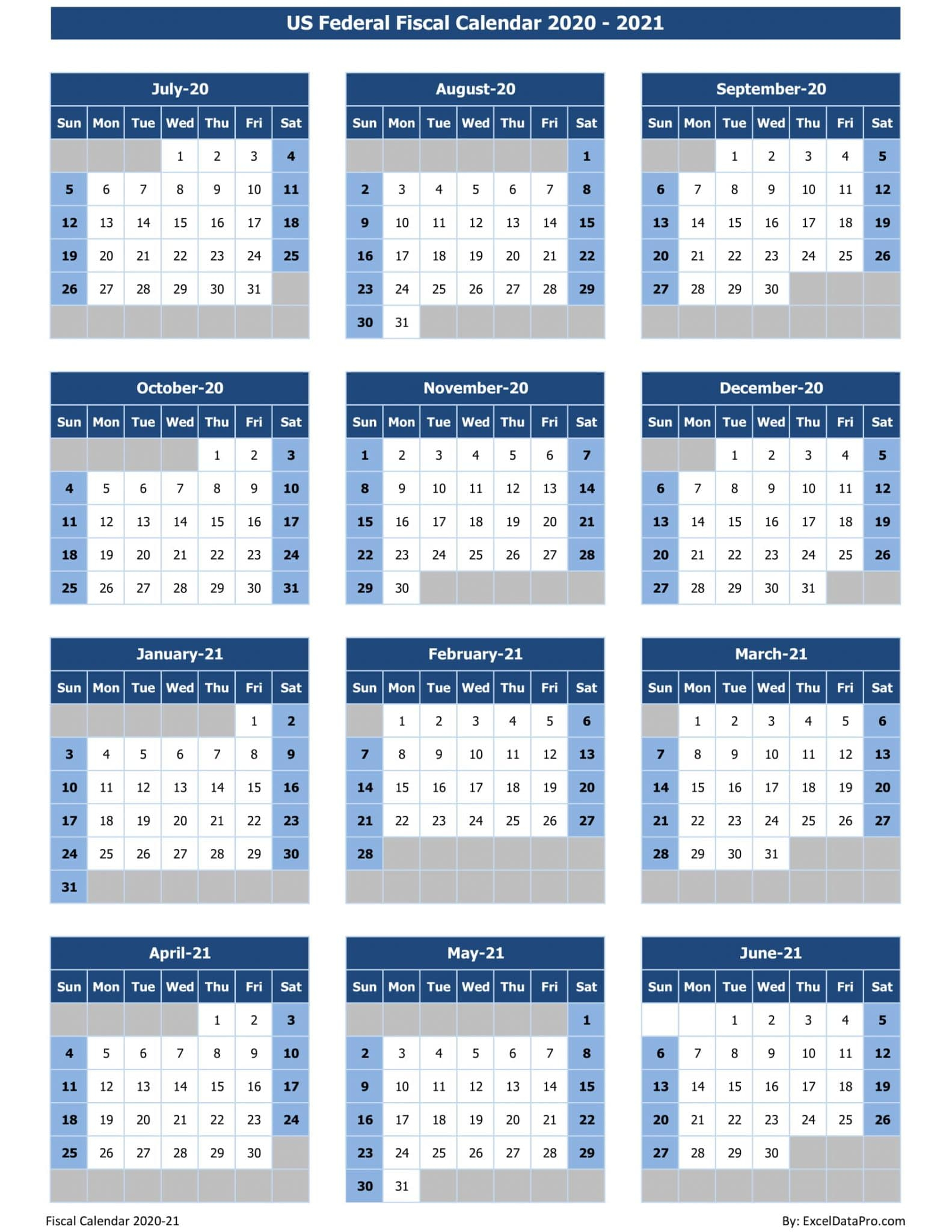 Download Us Federal Fiscal Calendar 2020-21 Excel Template pertaining to Federal Government Calendar Printable