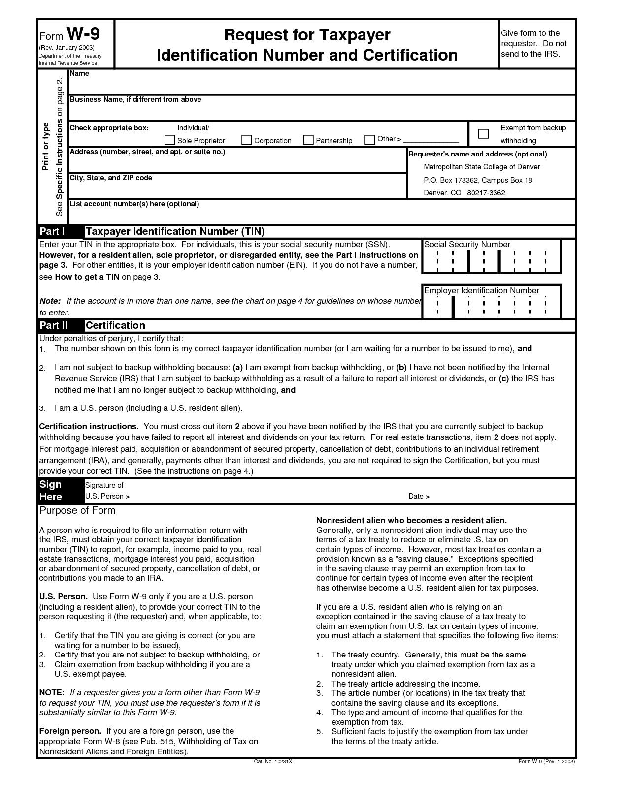Downloadable Form W 9 Printable W9 Printable Pages In 2020 throughout Irs Form W 9 Fillable Pdf