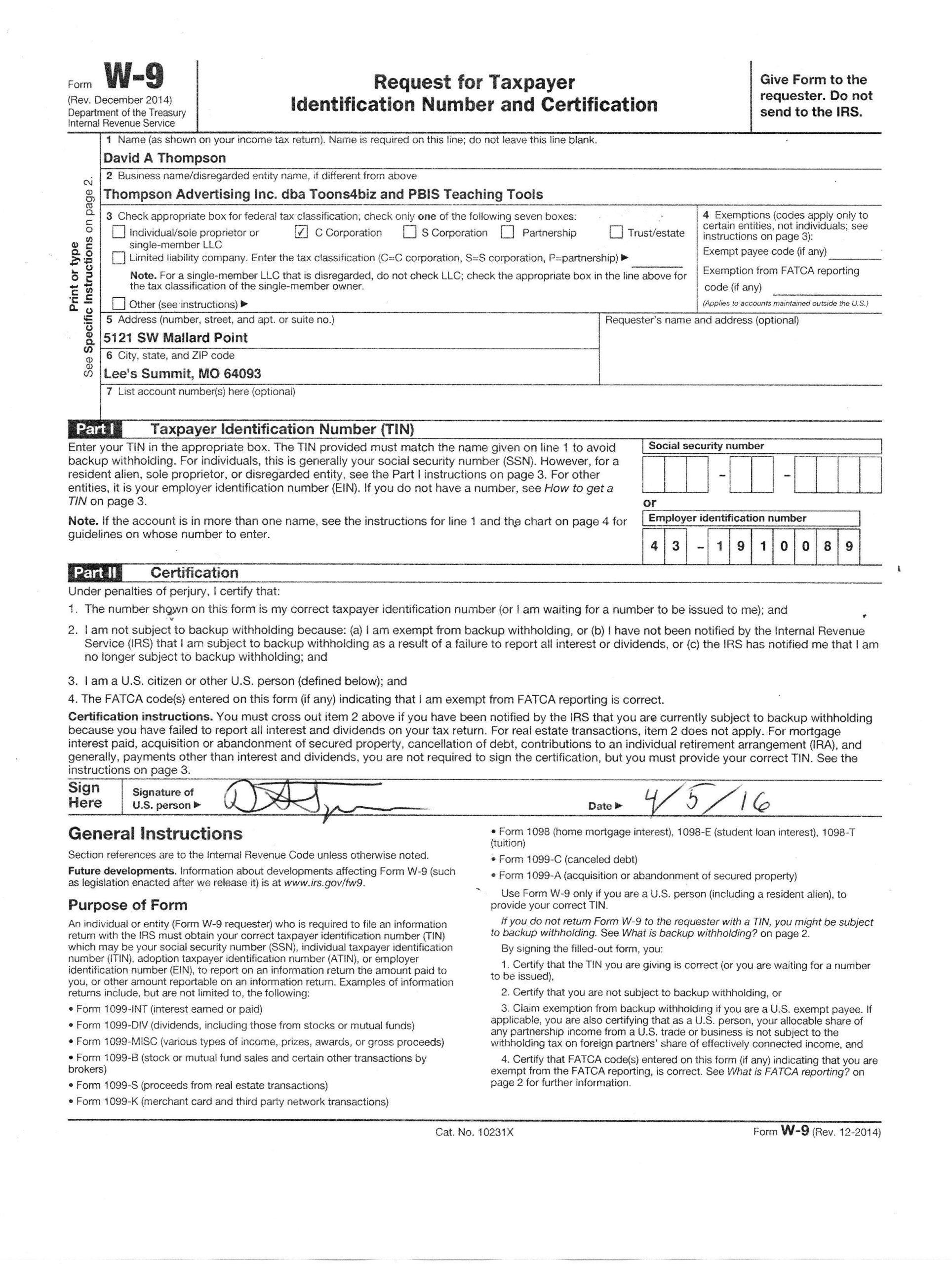 Downloadable W 9 Form W9 Form Mascot Junction In 2020 regarding Free W 9 Form