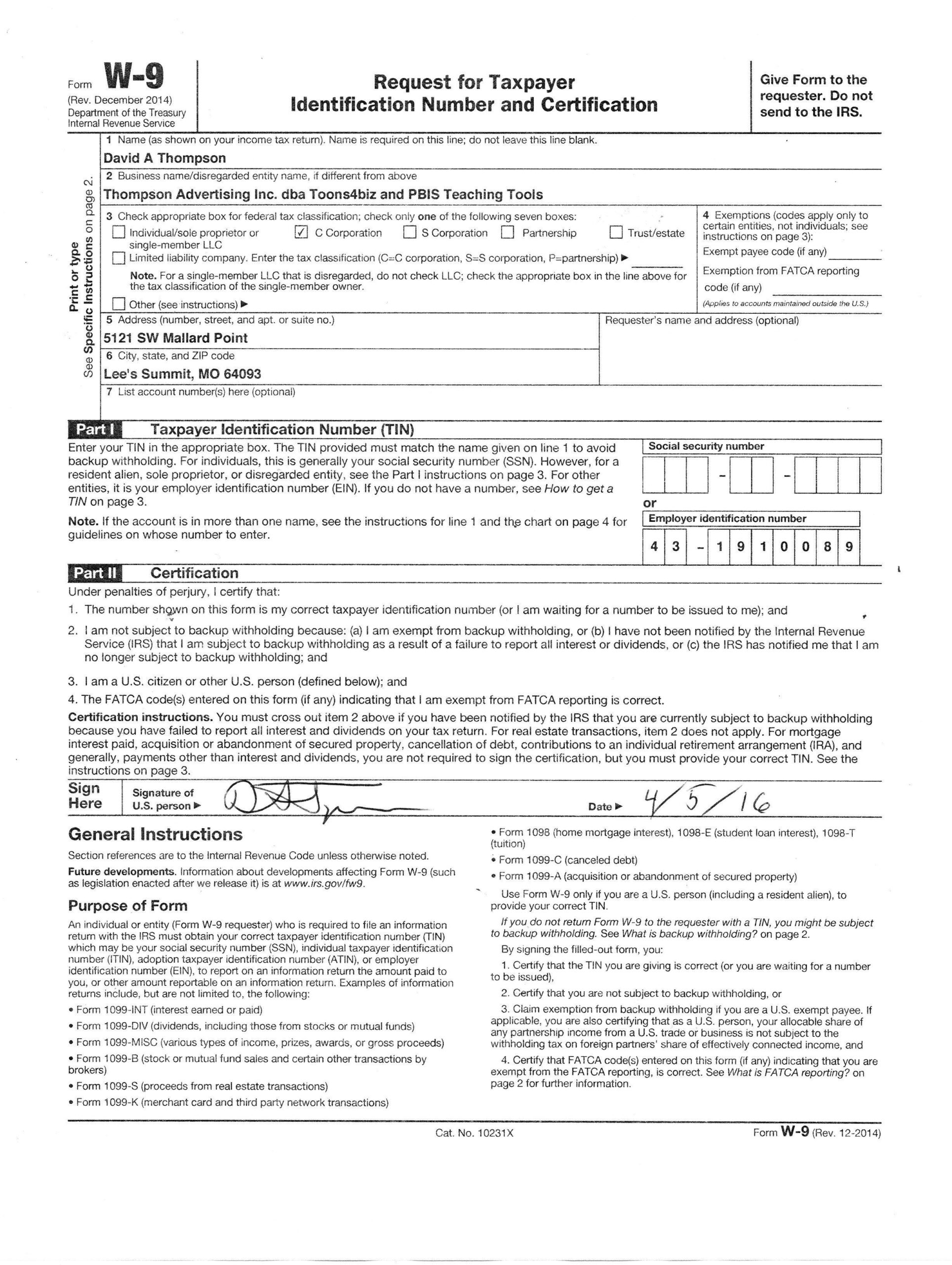 Downloadable W 9 Form W9 Form Mascot Junction In 2020 regarding Printable Irs W 9 Form