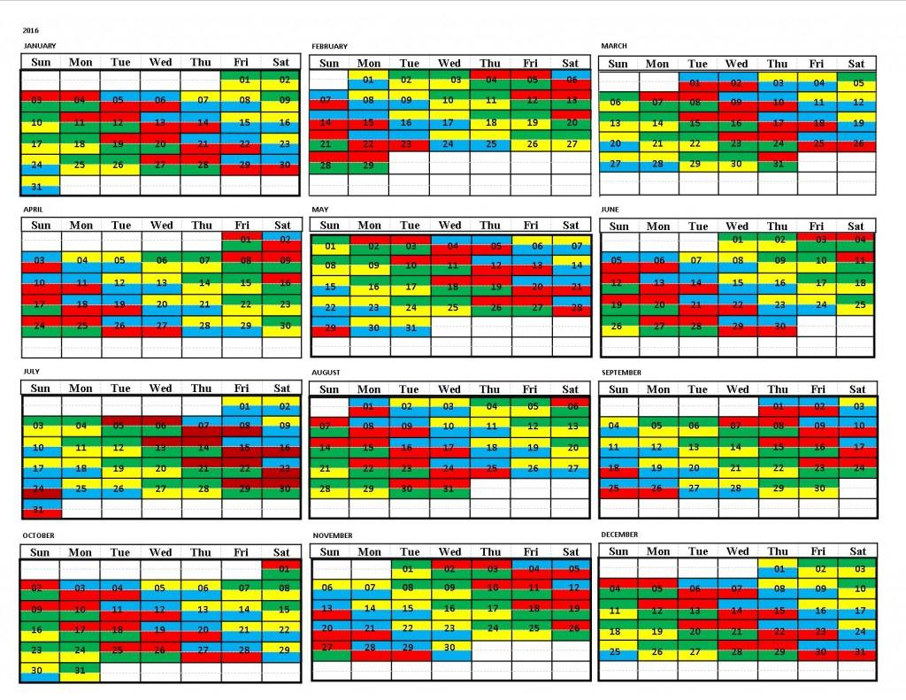 Draft 2016 Shift Calendar | United Fire Fighters Of Winnipeg throughout Fire Shift Calendar