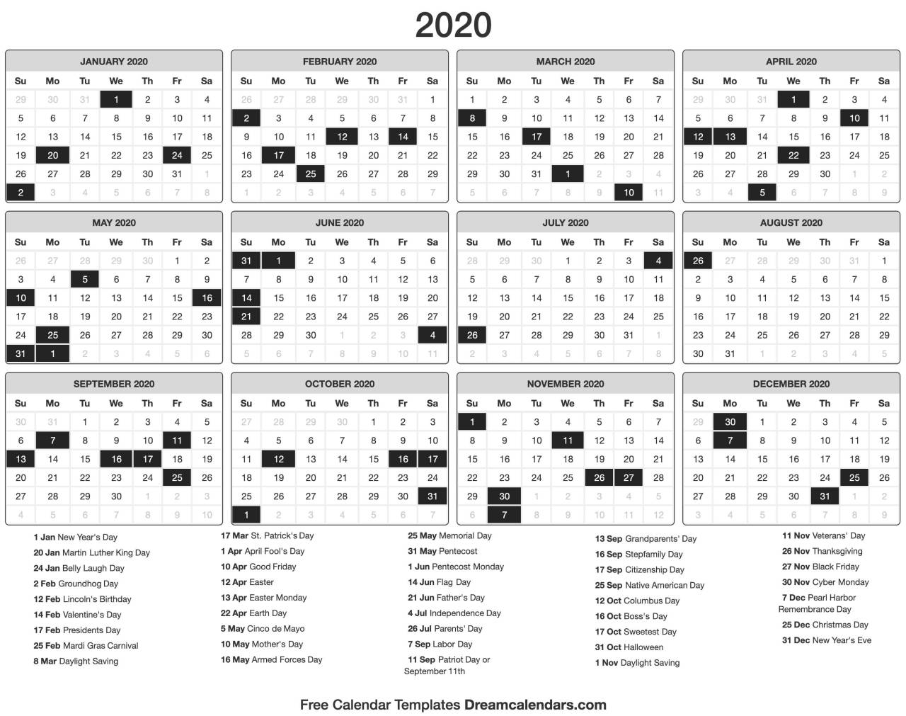 Dream Calendars: Make It 2020 Template — Printable 2020 with 2021 Julian Calendar