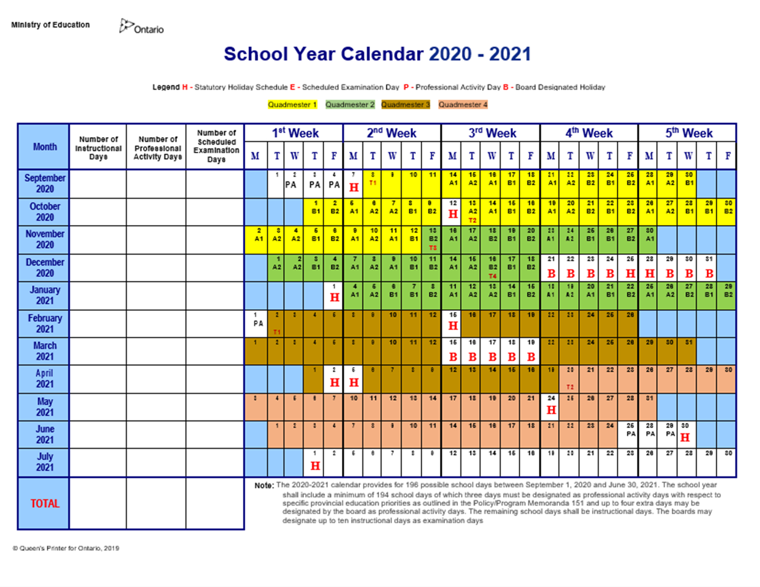 Dufferin-Peel Catholic District School Board - John Cabot with School Year Calender For 2021 Ydsb