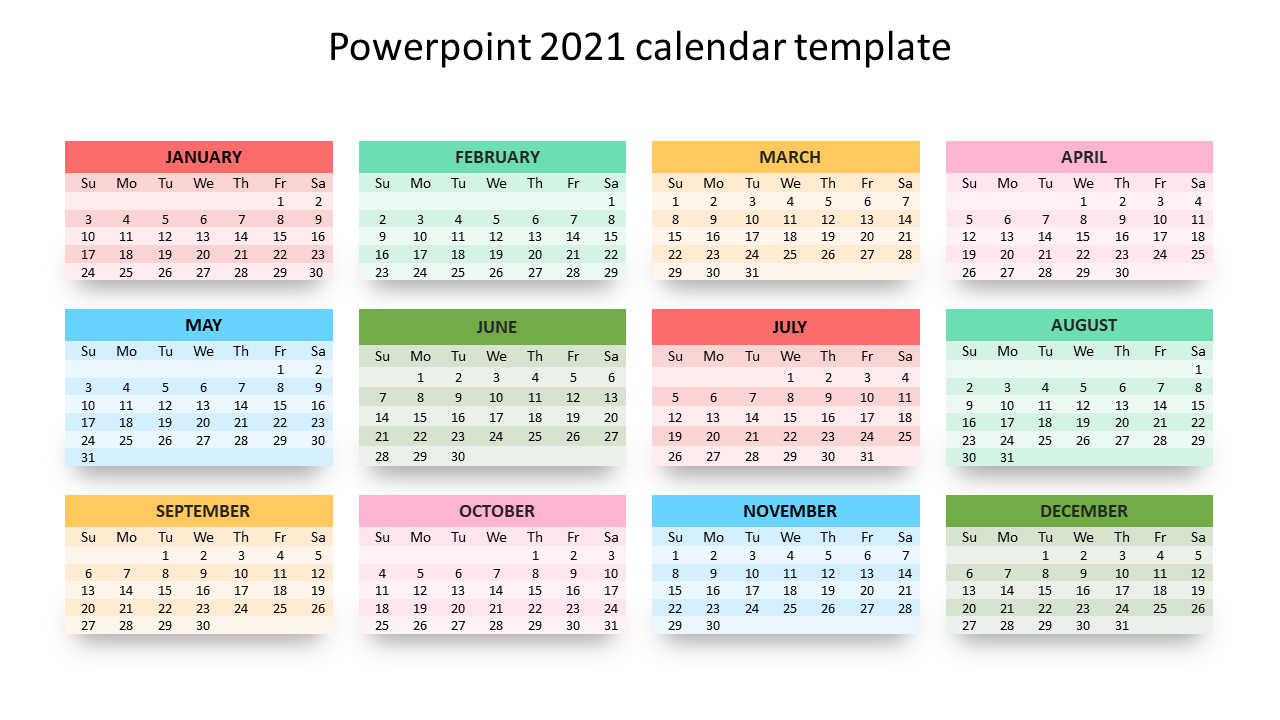 Editable Powerpoint 2021 Calendar Template with 2021 Calendar To Fill In