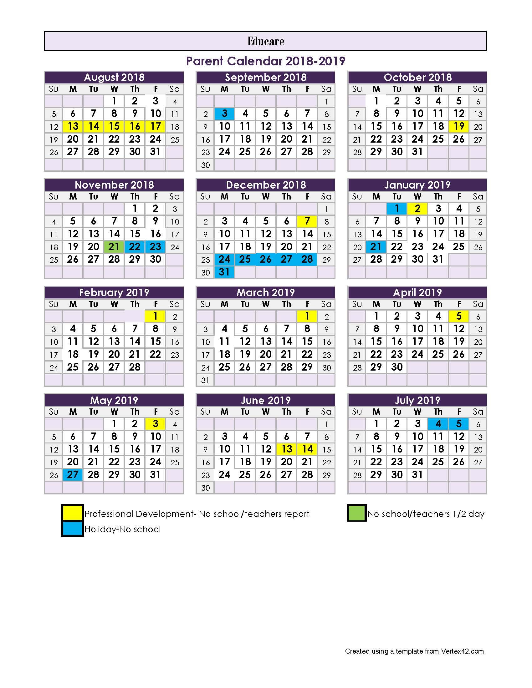 Educare Parent Calendar 18-19 - Tulsa Educare throughout Vertex Academic Calendar