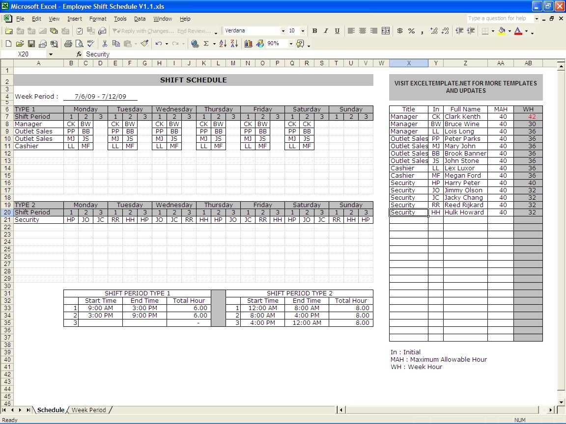 Employee Schedule Maker » The Spreadsheet Page inside Shift Yearly Plan
