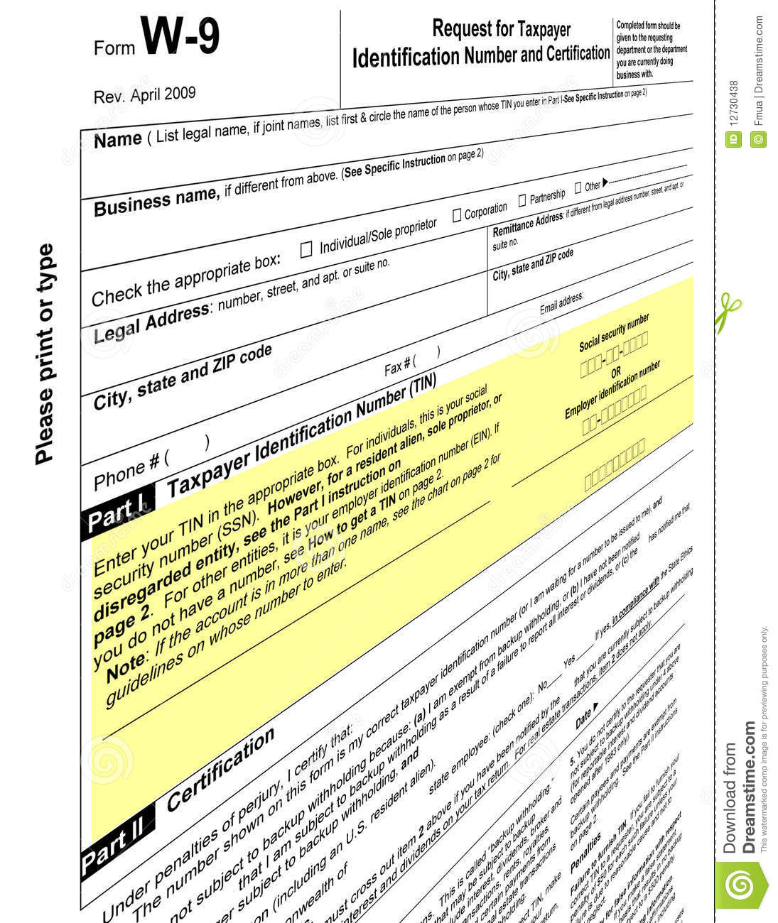 Empty W-9 Form Blank, 2011 Tax Paying Stock Illustration inside Free W 9 Form