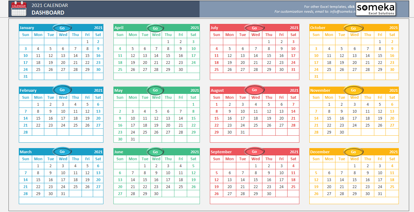 Excel Calendar Template 2020 - Free Printable Calendar for 2021 Fill-In Calendar