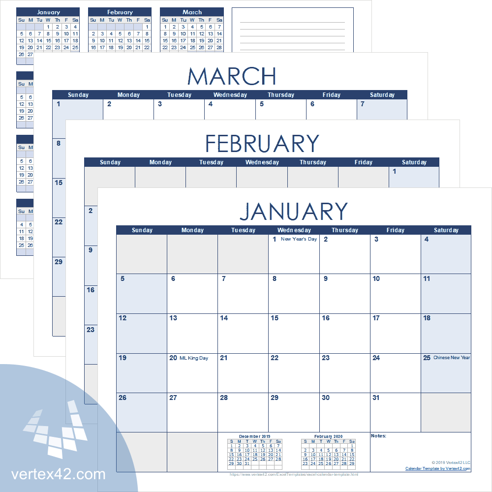 Excel Calendar Template For 2020 And Beyond in Vertex Academic Calendar