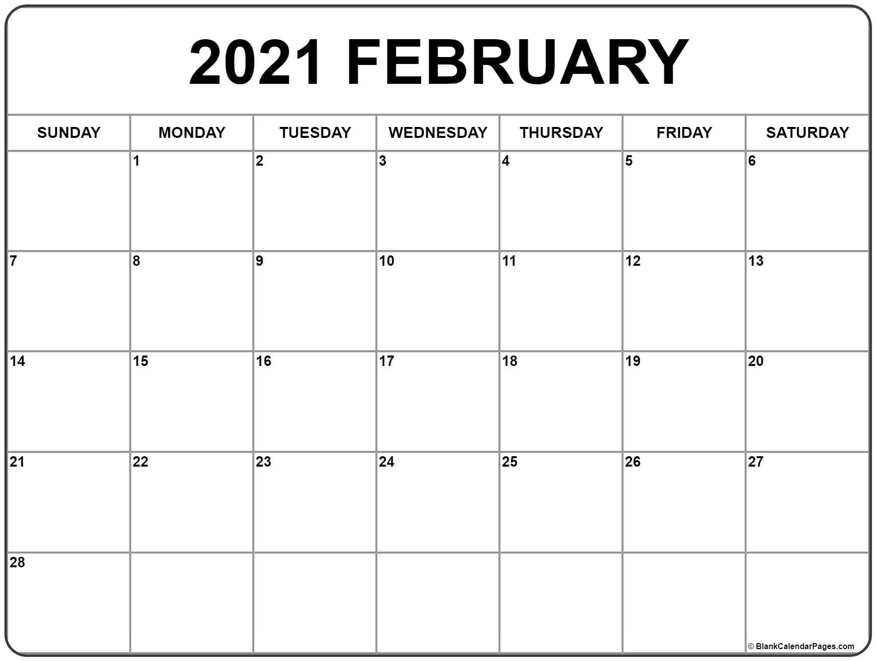 February 2021 Calendar | Free Printable Monthly Calendars inside Printable Fill In Calendar 2021
