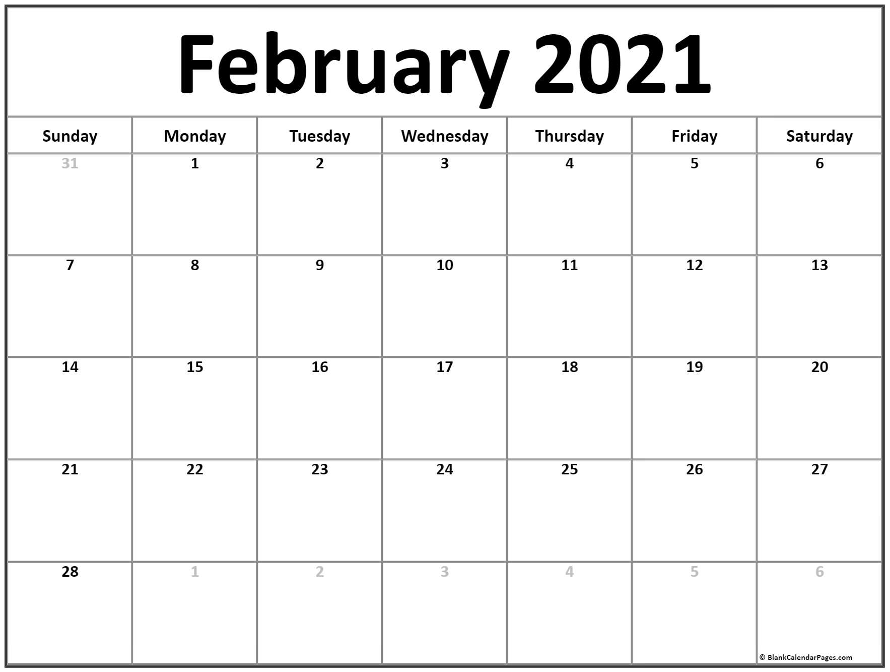 February 2021 Calendar | Free Printable Monthly Calendars regarding Fill In 2021 Calendar Pages Blank