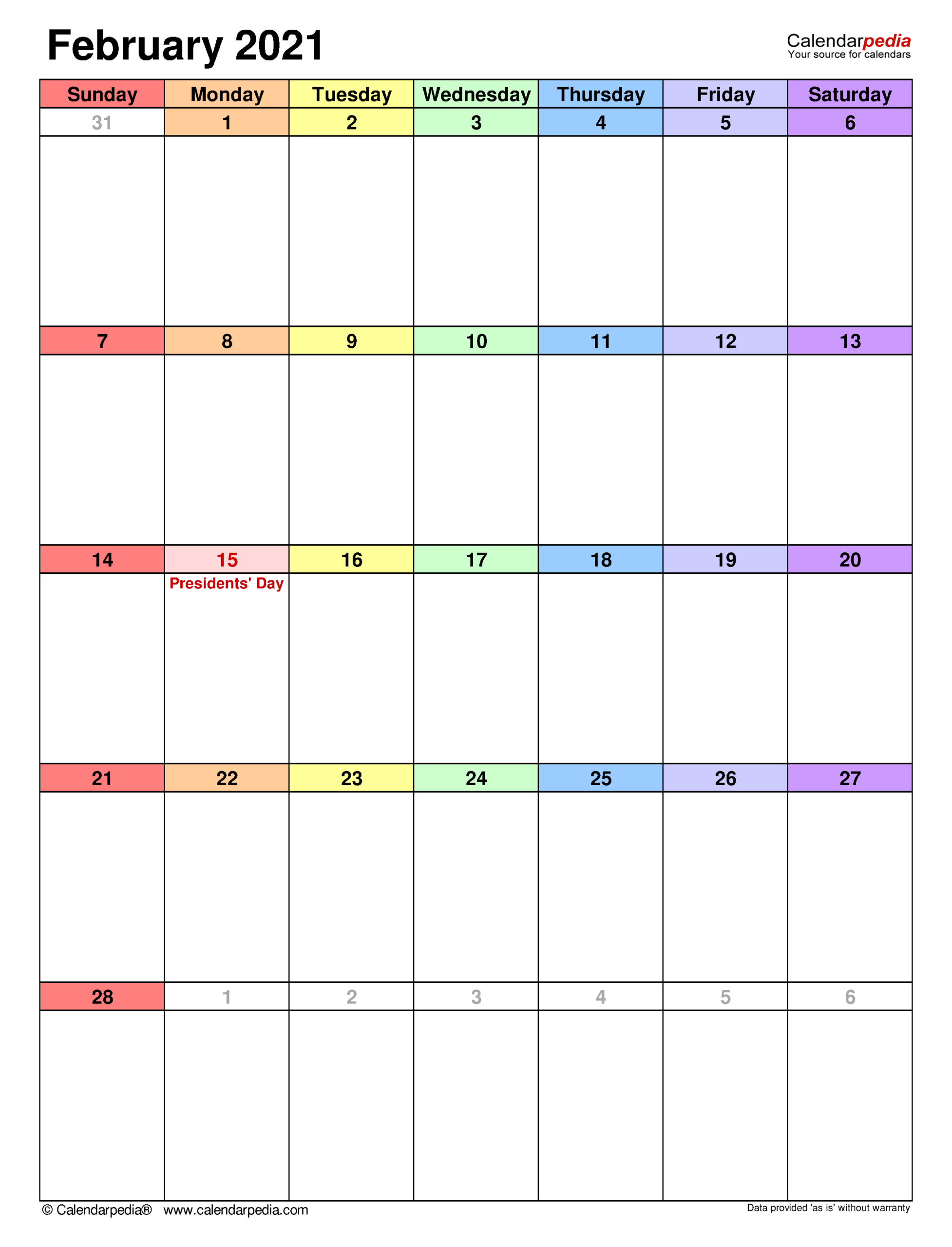February 2021 Calendar | Templates For Word, Excel And Pdf regarding Fillable Calendar Templates 2021