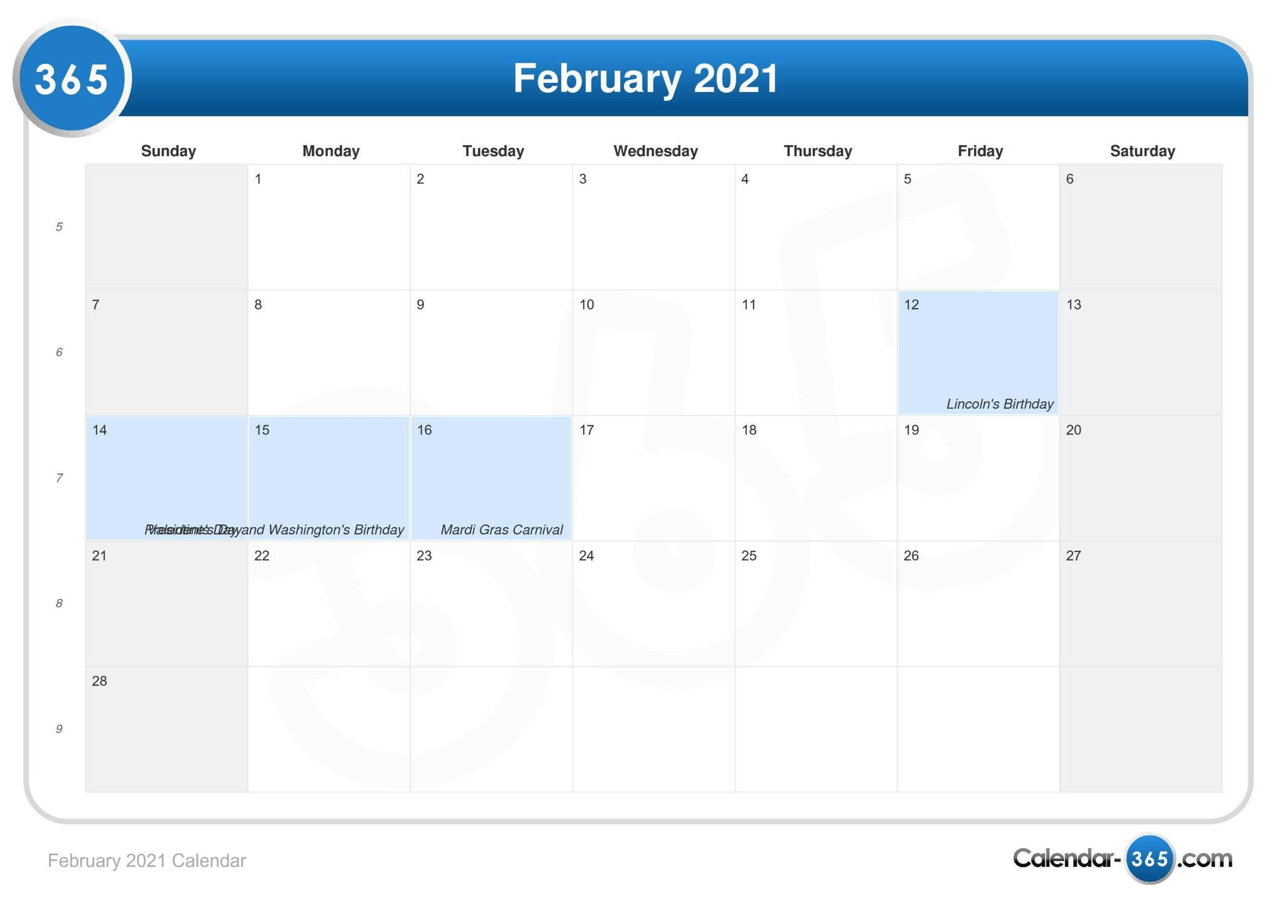 February 2021 Calendar with Sunday To Saturday Year Calendar 2021/21